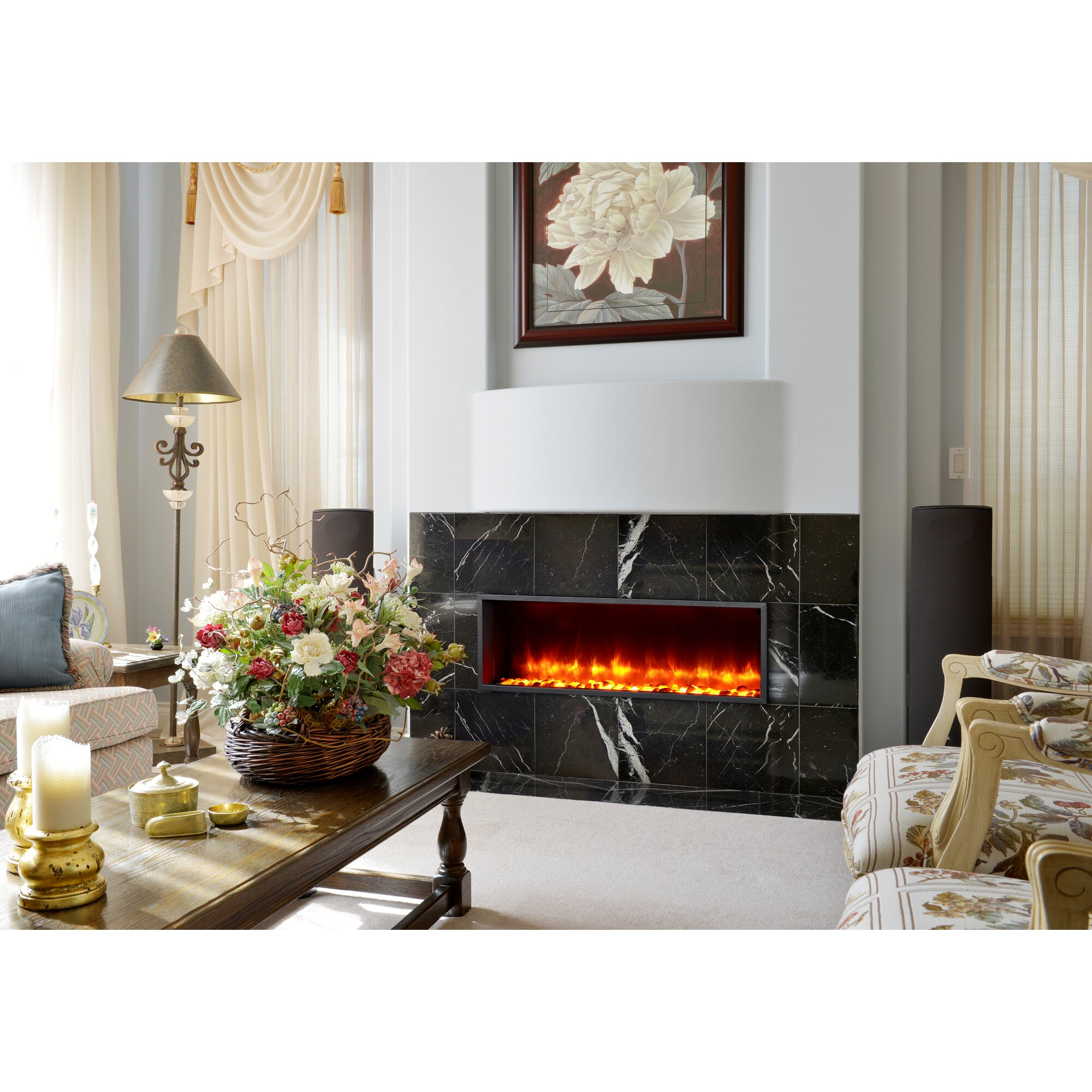 dynasty built in led wall mount electric fireplace insert