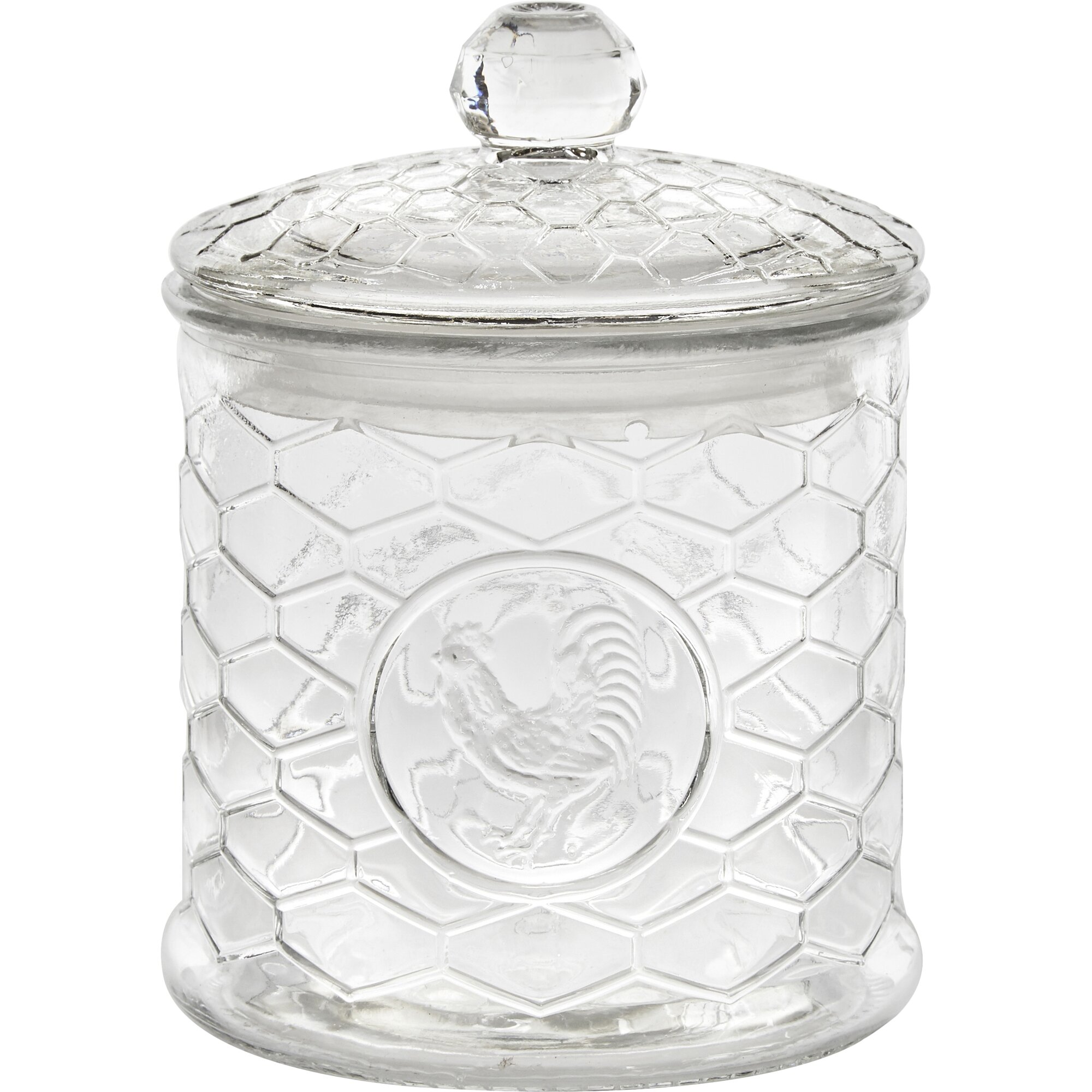 circle glass rooster design 3 piece kitchen canister set