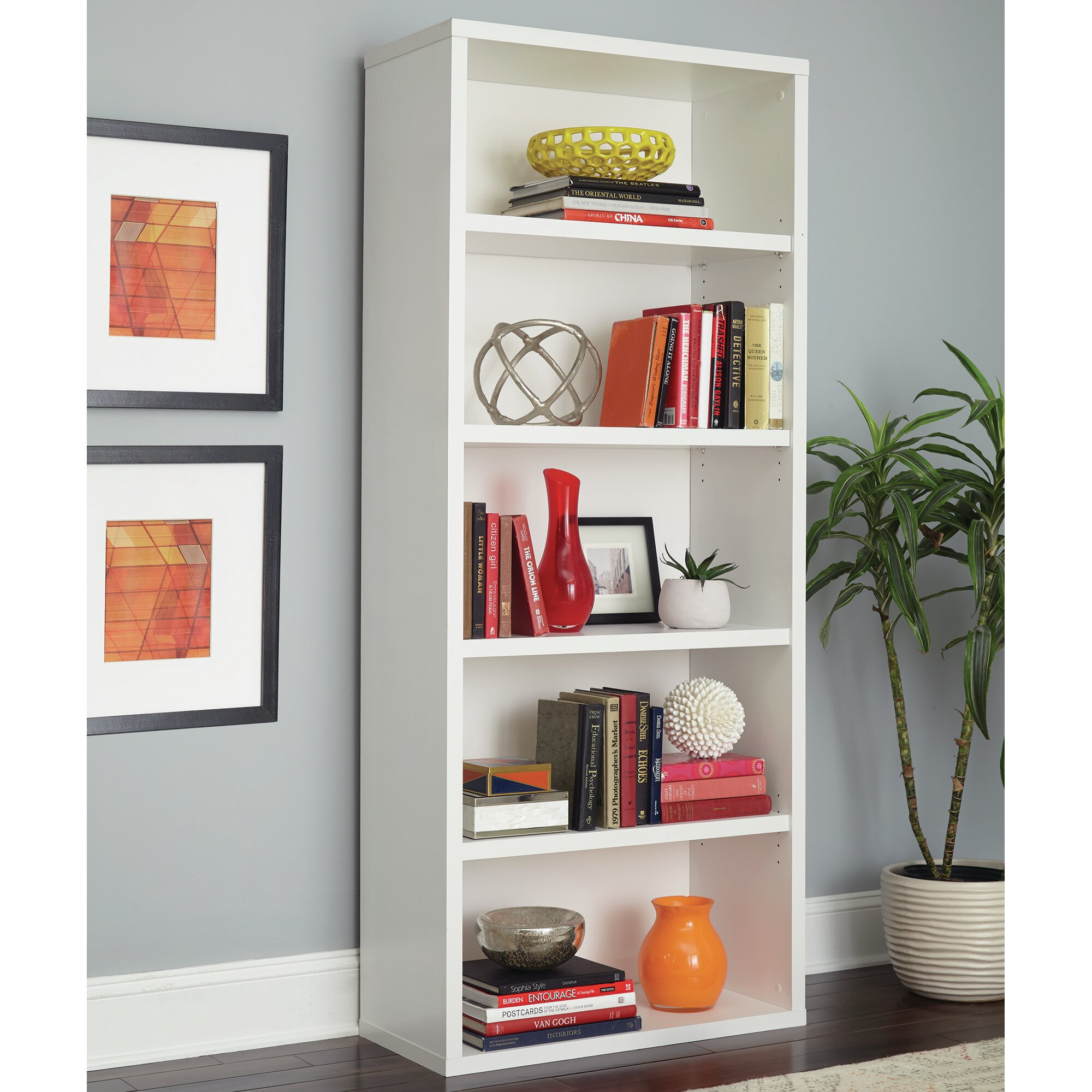 "ClosetMaid Decorative 5 Shelf 73"" Standard Bookcase"