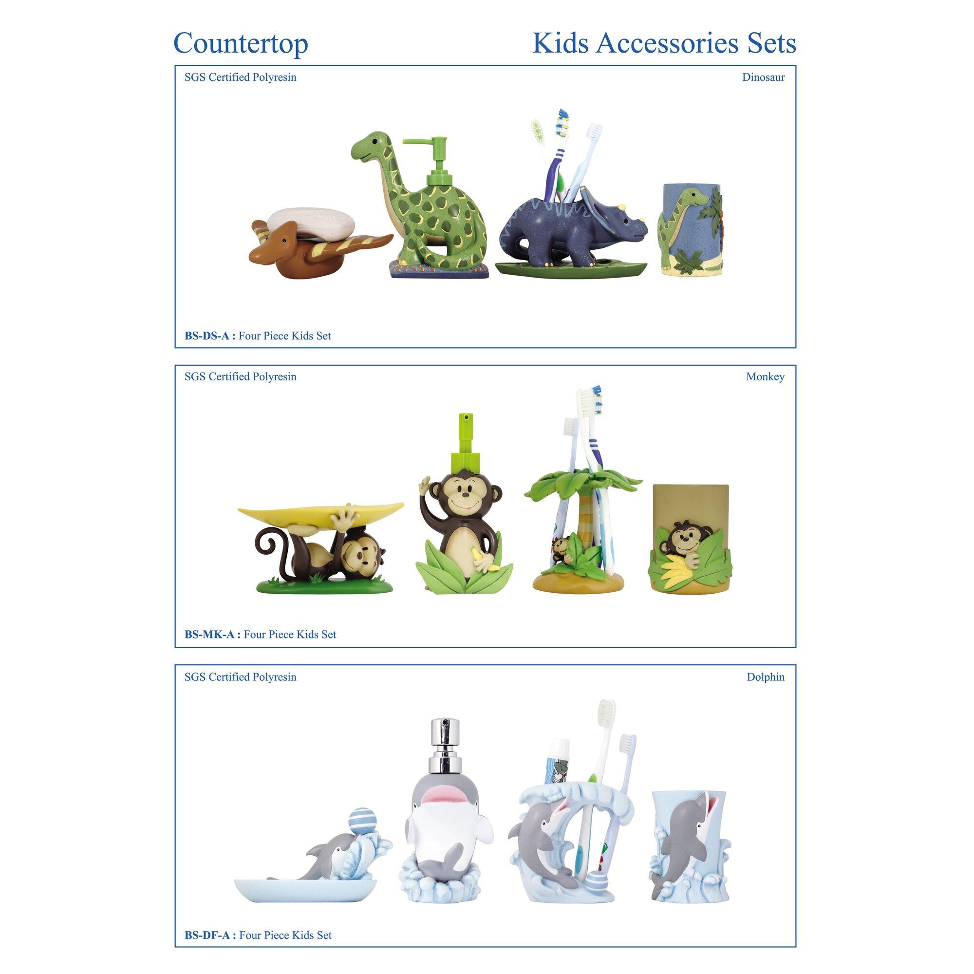Modona 4 piece kids bathroom accessories set reviews for Bathroom 4 piece set