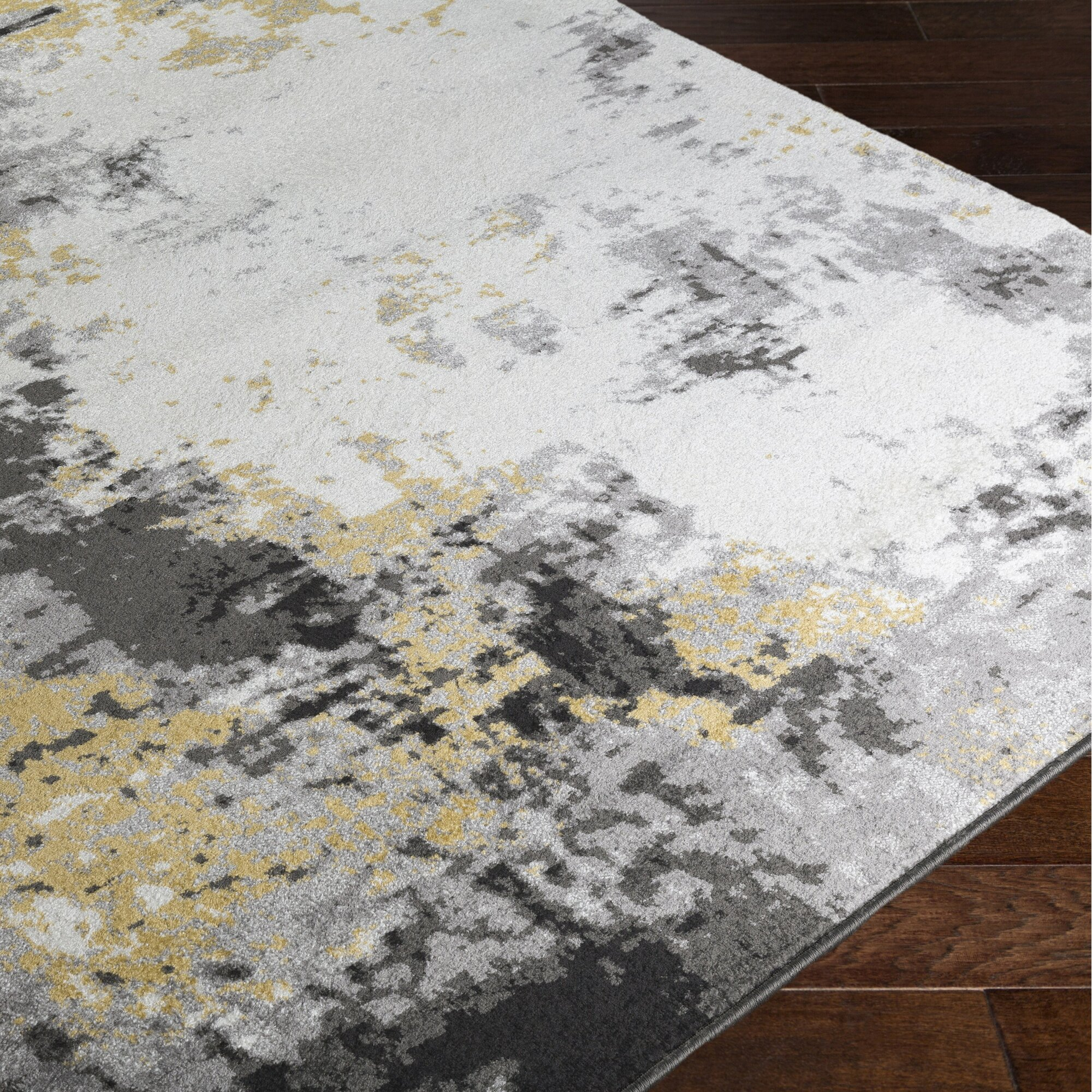 shuff charcoal mustard yellow gray area rug reviews allmodern. Black Bedroom Furniture Sets. Home Design Ideas