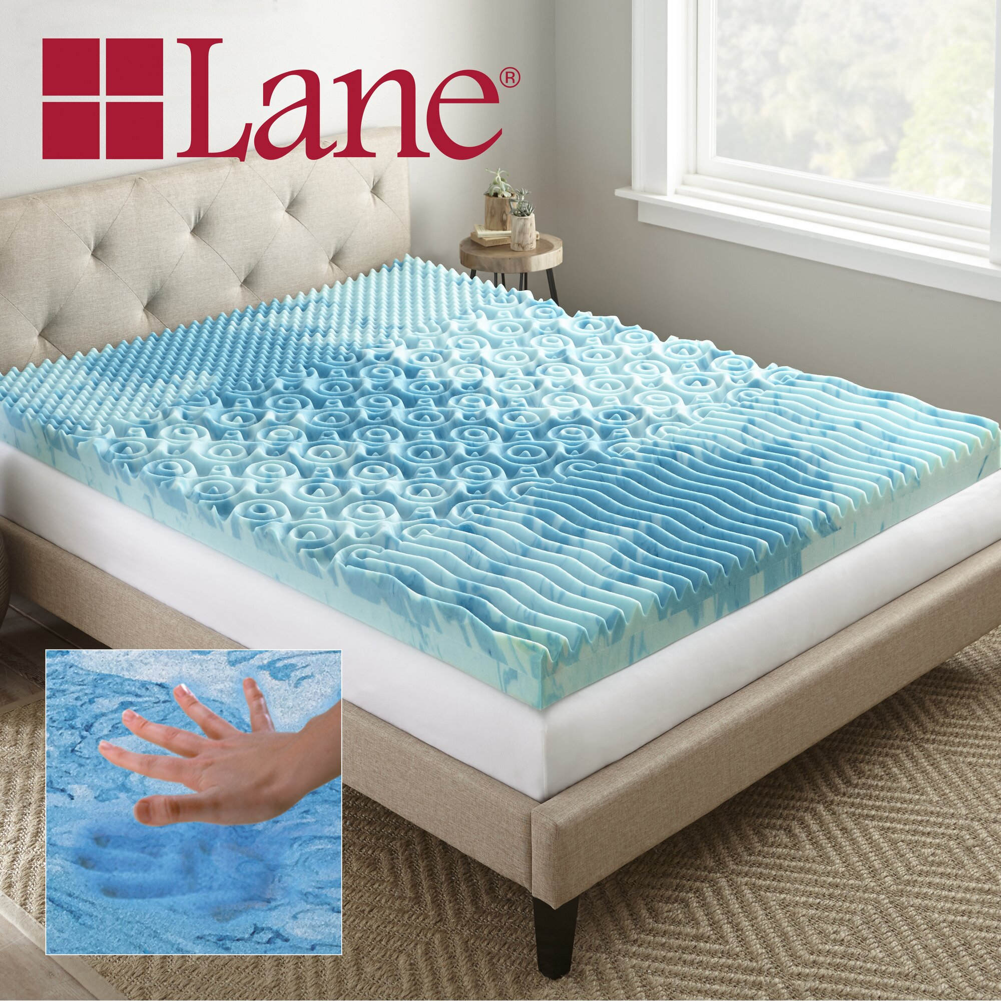 lane furniture sleep cool gellux 4 memory foam mattress topper reviews wayfair. Black Bedroom Furniture Sets. Home Design Ideas