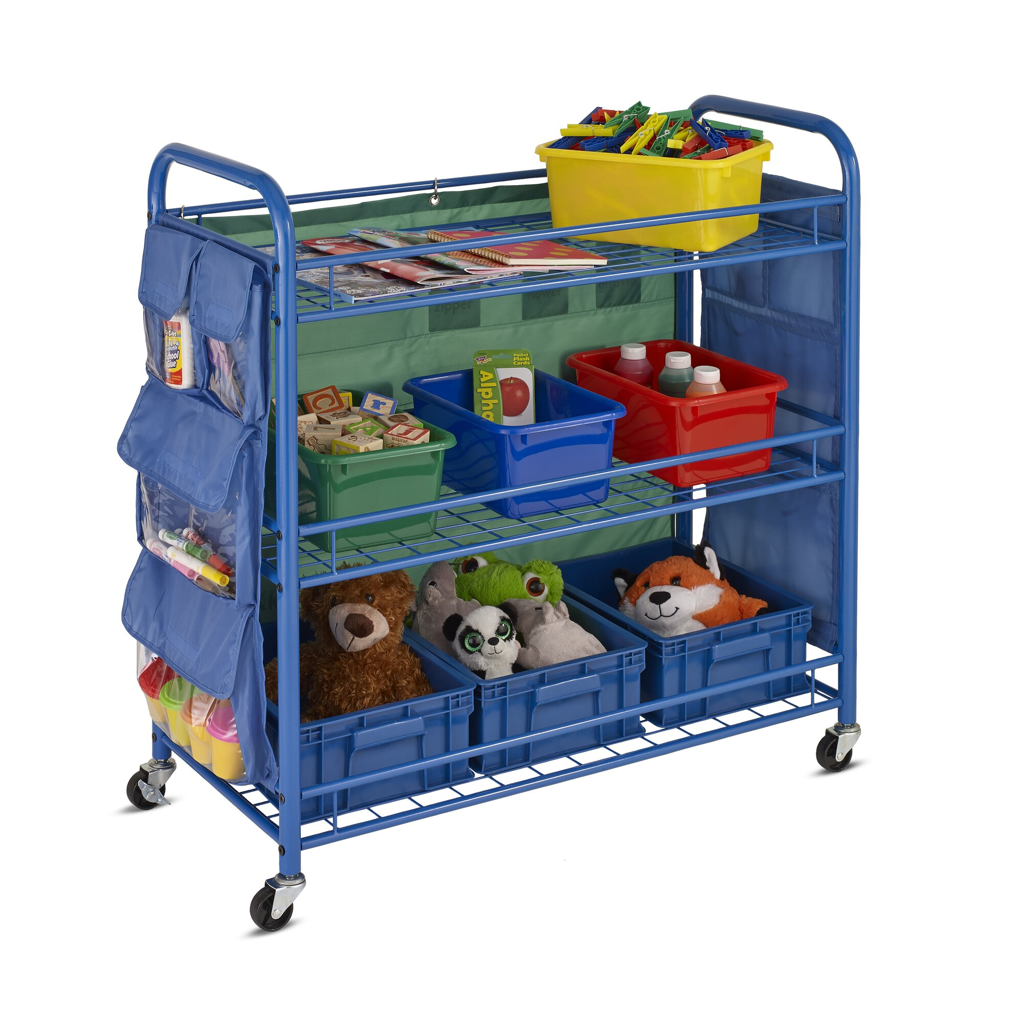 honey can do all purpose portable teaching cart with bins reviews wayfair. Black Bedroom Furniture Sets. Home Design Ideas