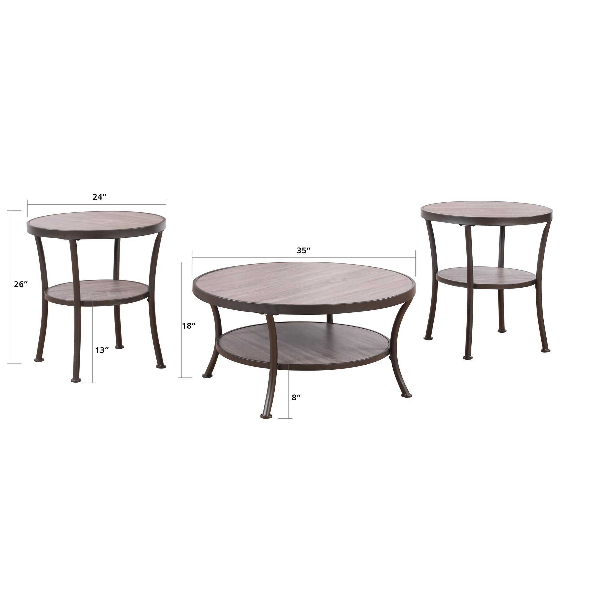Madison Home USA 3 Piece Coffee Table And End Table Set