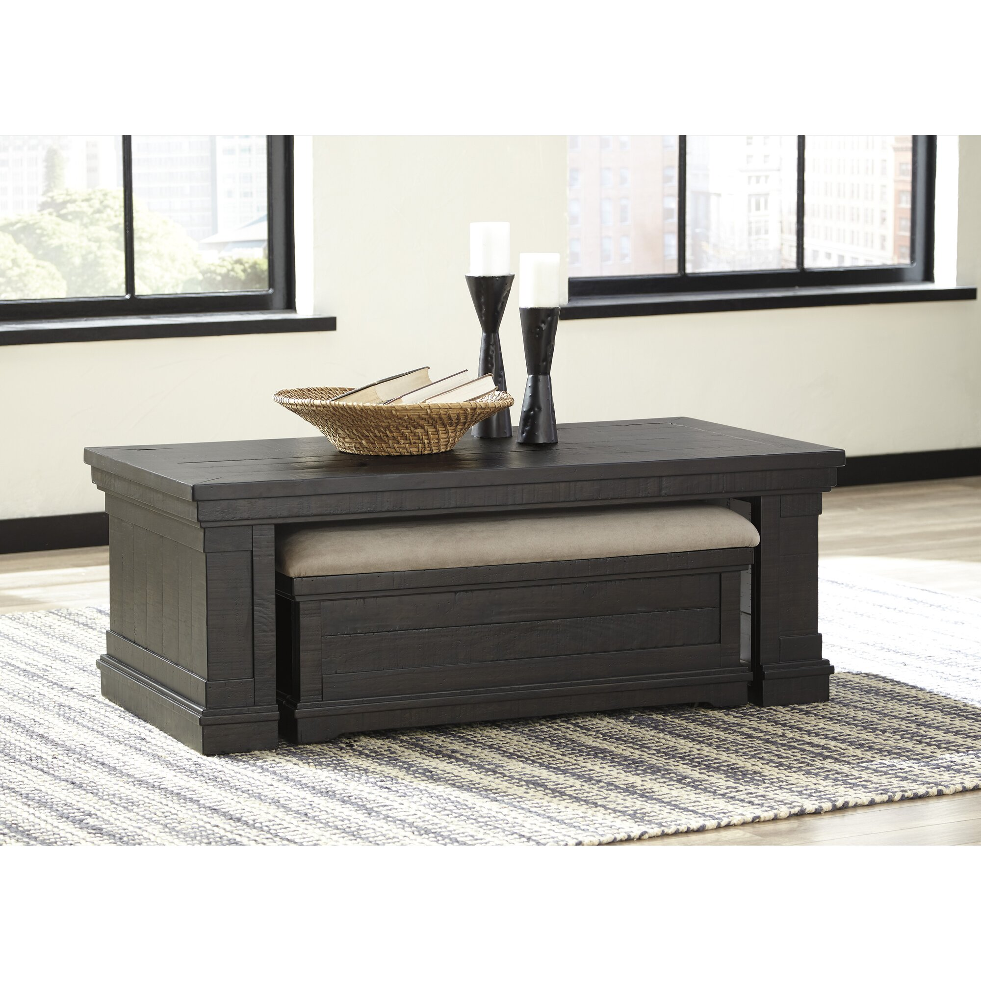 Fargo coffee table with nested ottoman reviews birch lane for Coffee table with nested ottomans
