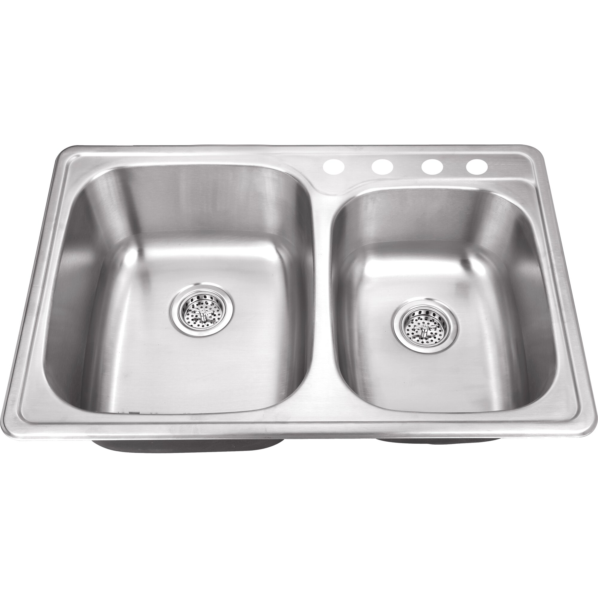 33 x 22 stainless steel drop in double bowl kitchen sink - Bowl Kitchen Sink