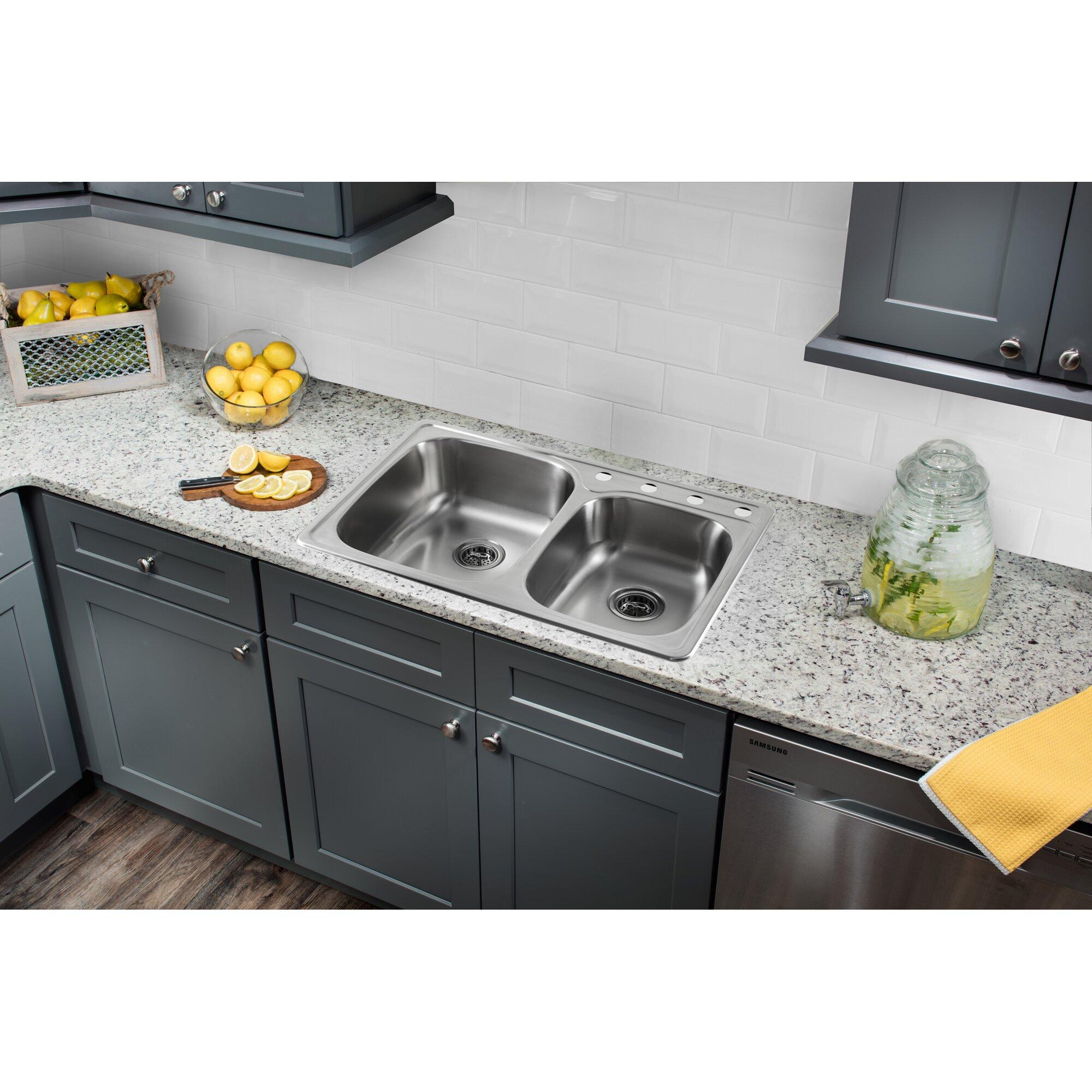 33 x 22 stainless steel drop in double bowl kitchen sink - Kitchen Sink Drop In
