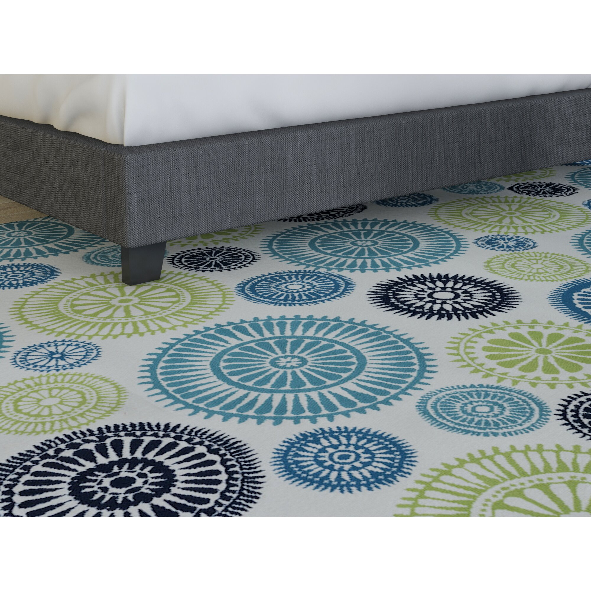 Lucia Ivory Green Blue Indoor Outdoor Area Rug & Reviews