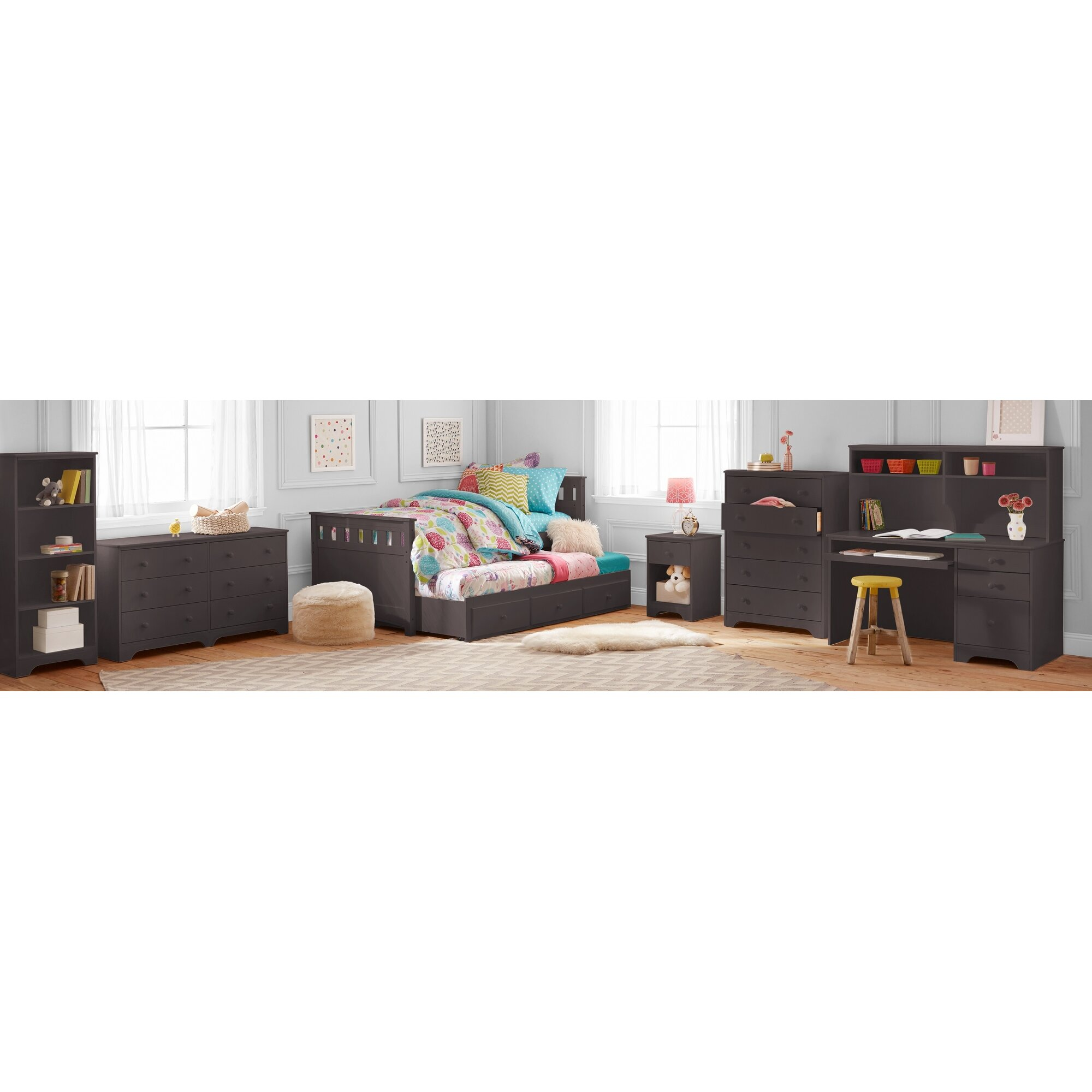 Better Homes Gardens Pine Creek Twin Captain 39 S Bed With Trundle And Storage Bedroom Set