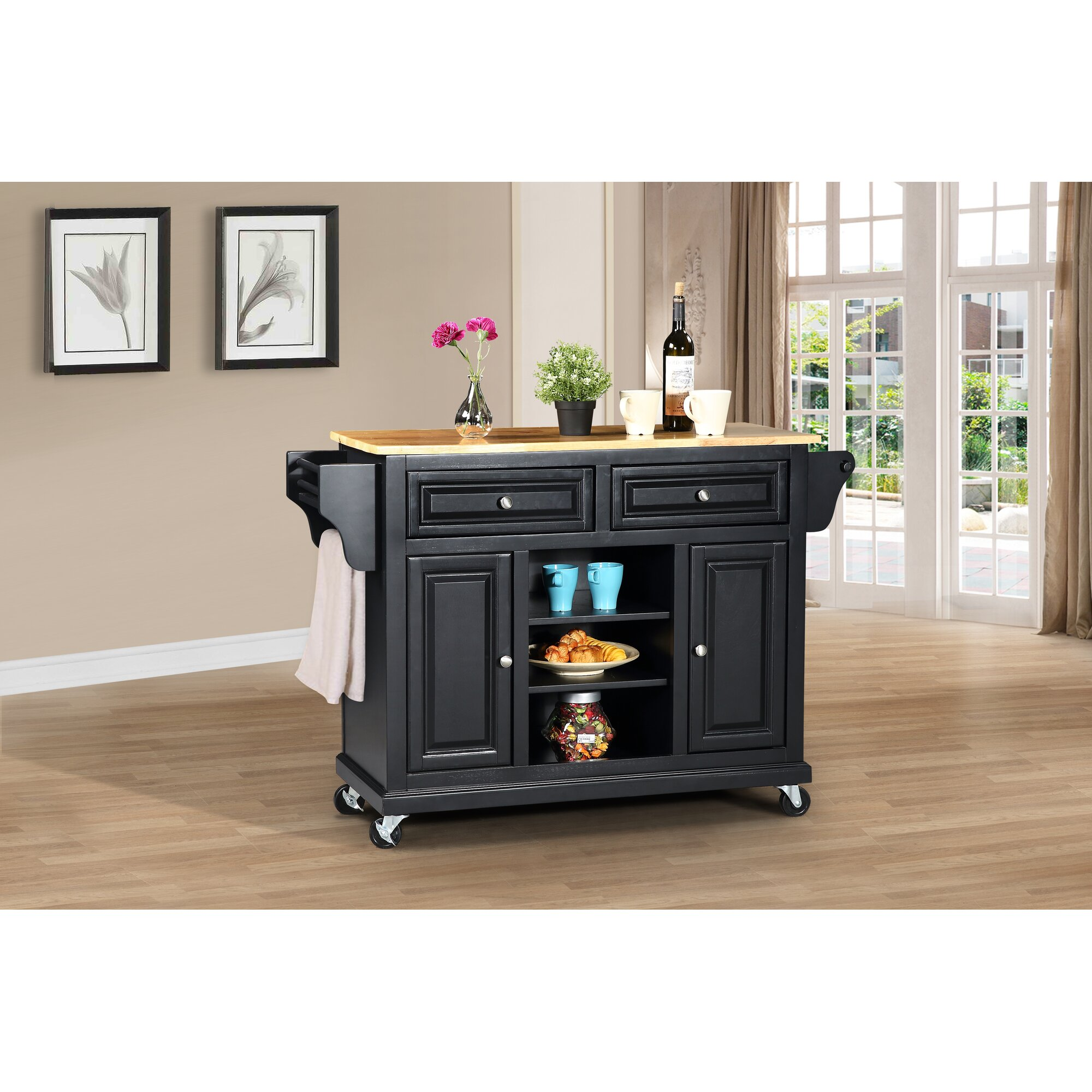 wildon home 174 kitchen island with solid wood top reviews