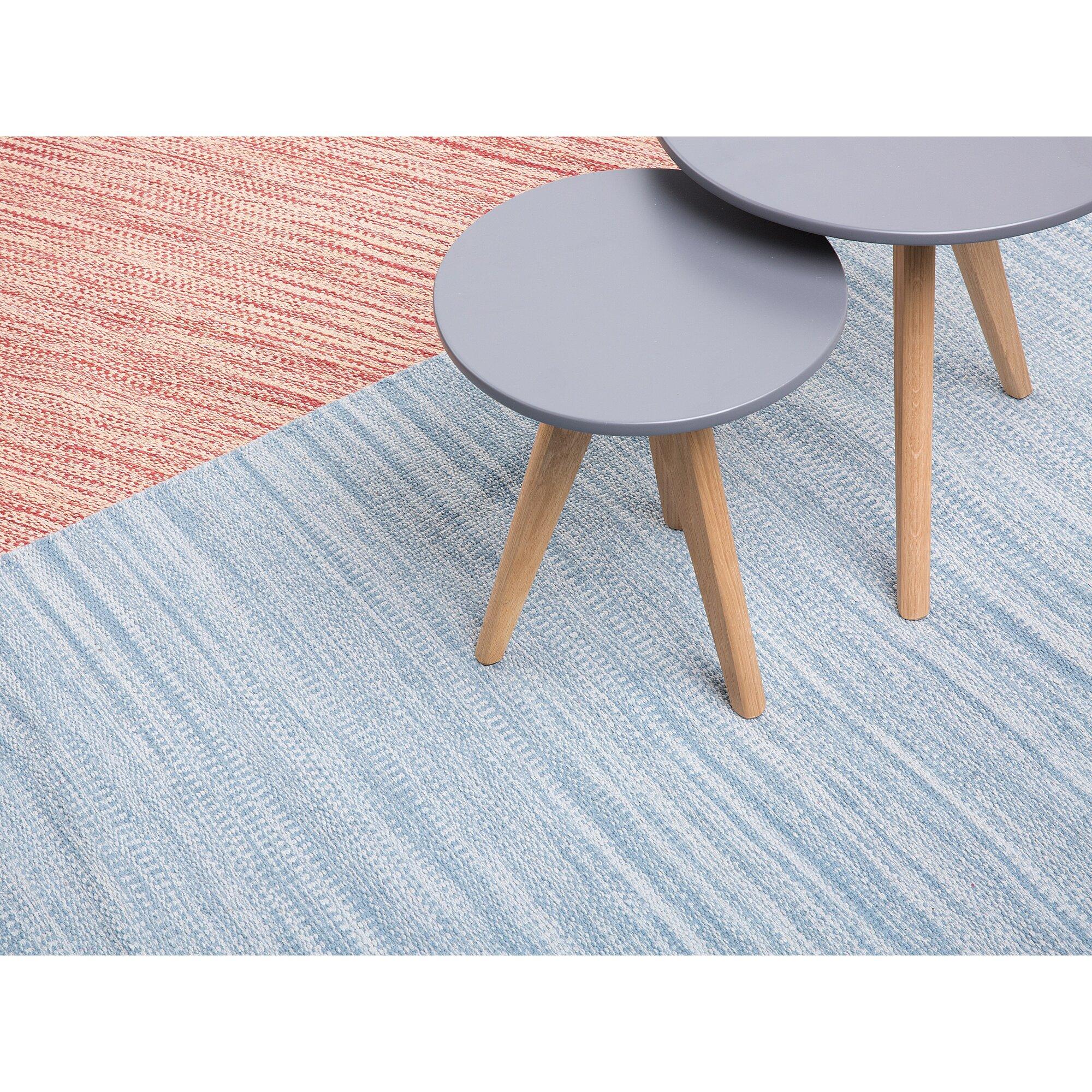 Home Loft Concept Handgewebter Teppich Derince in Hellblau