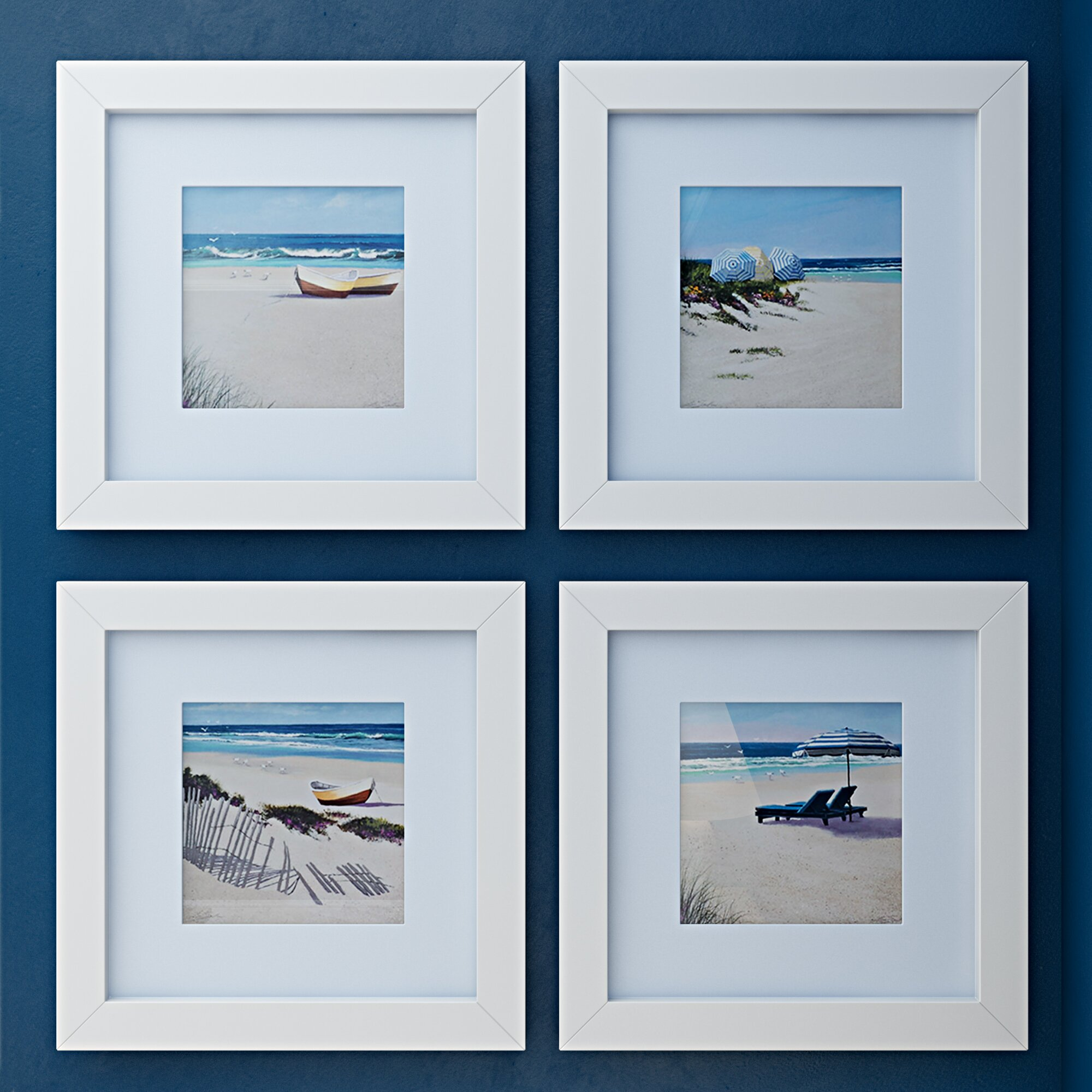 Beachcrest home umbrella framed 4 piece photo graphic for Kitchen cabinets lowes with set of 2 canvas wall art