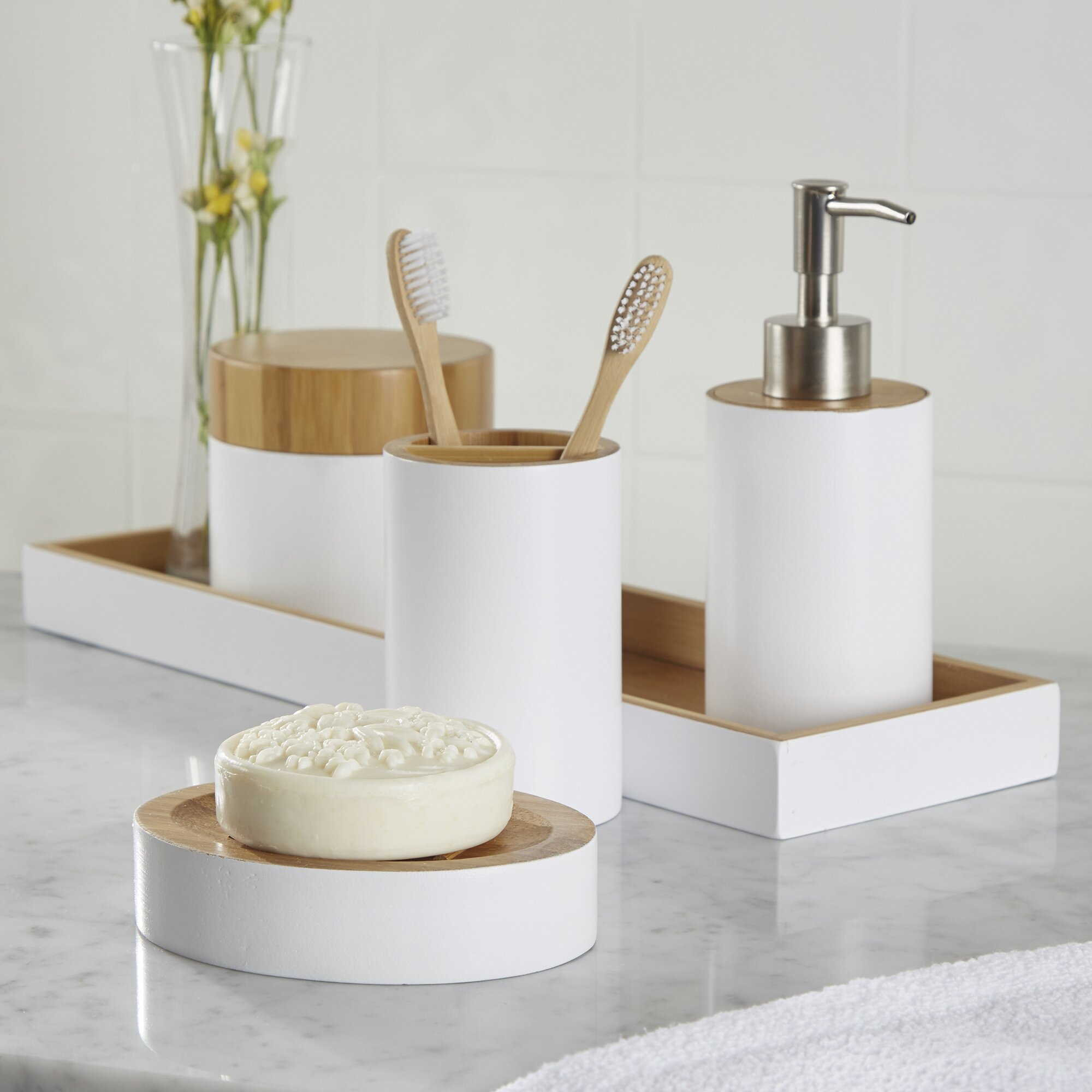 Rousseau 6 piece bathroom accessory set reviews allmodern for Bathroom utensils