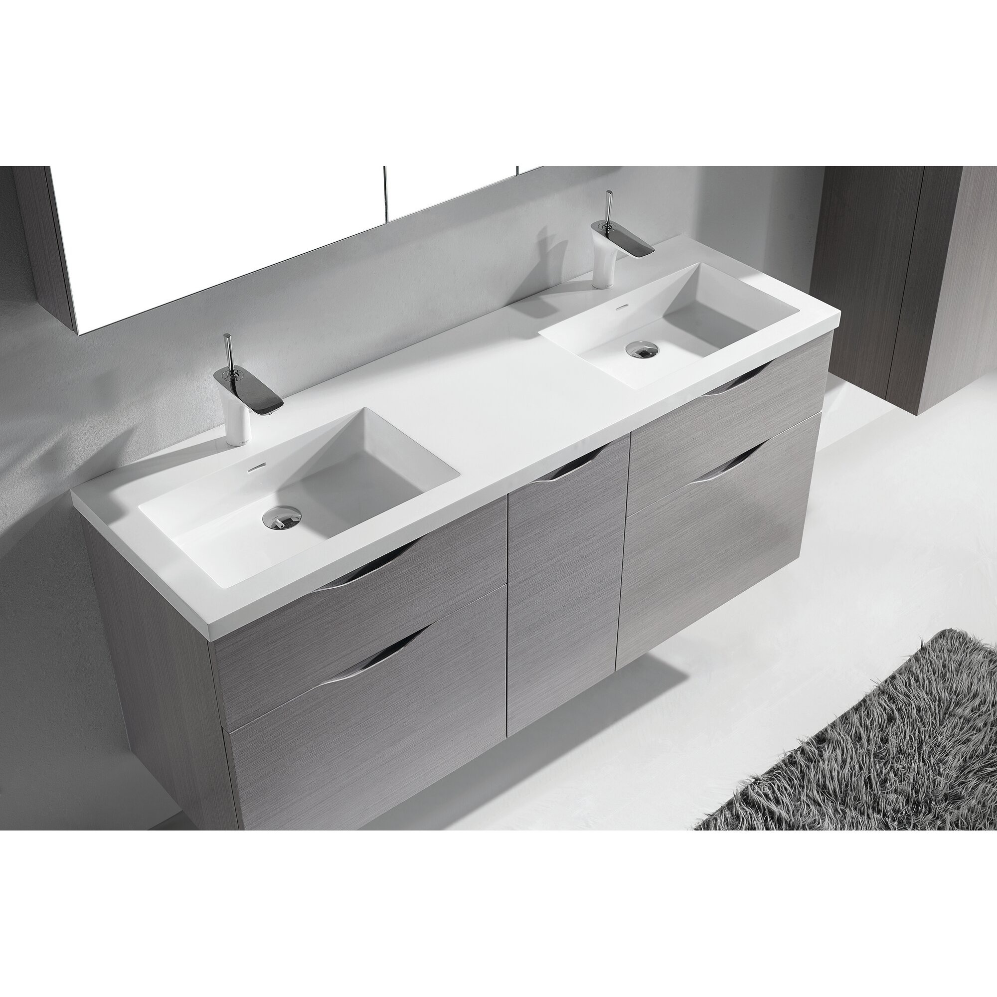 Double bathroom vanity - Bolano 60 Double Bathroom Vanity Set
