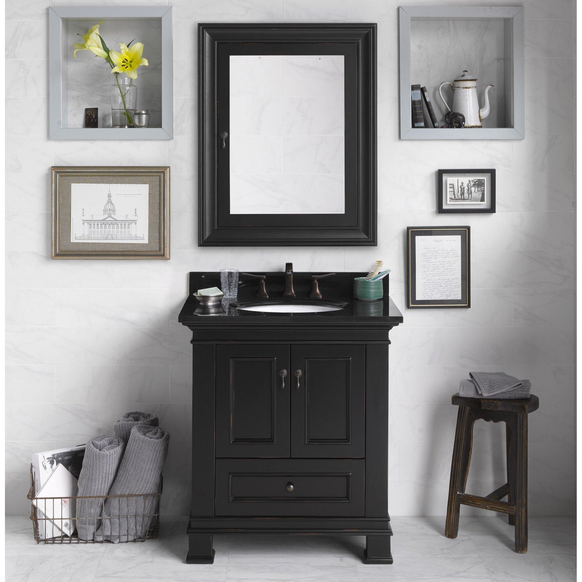Ronbow venice 30 single bathroom vanity set with mirror for Bathroom mirror set