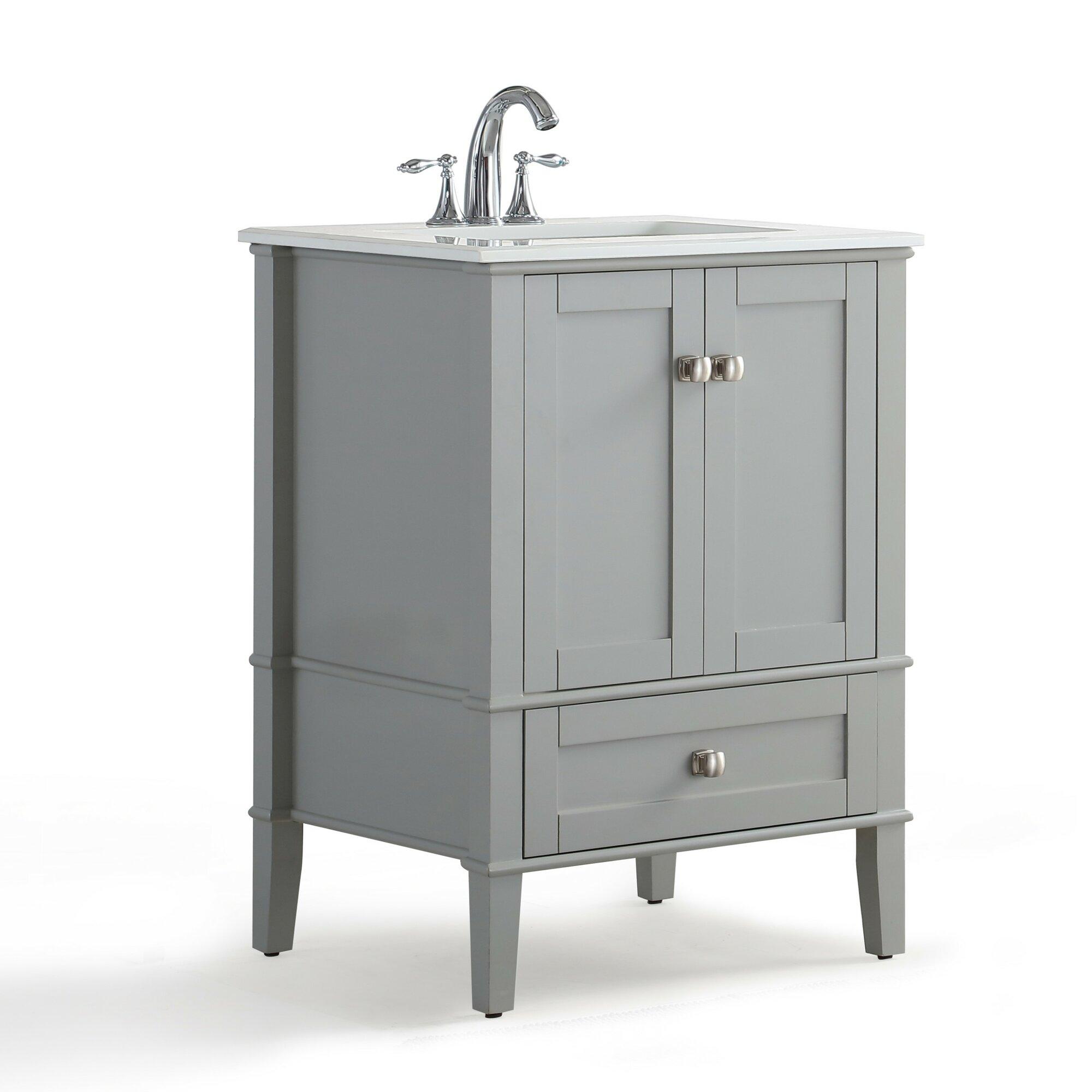 "Simpli Home Chelsea 25"" Single Bathroom Vanity with Quartz"