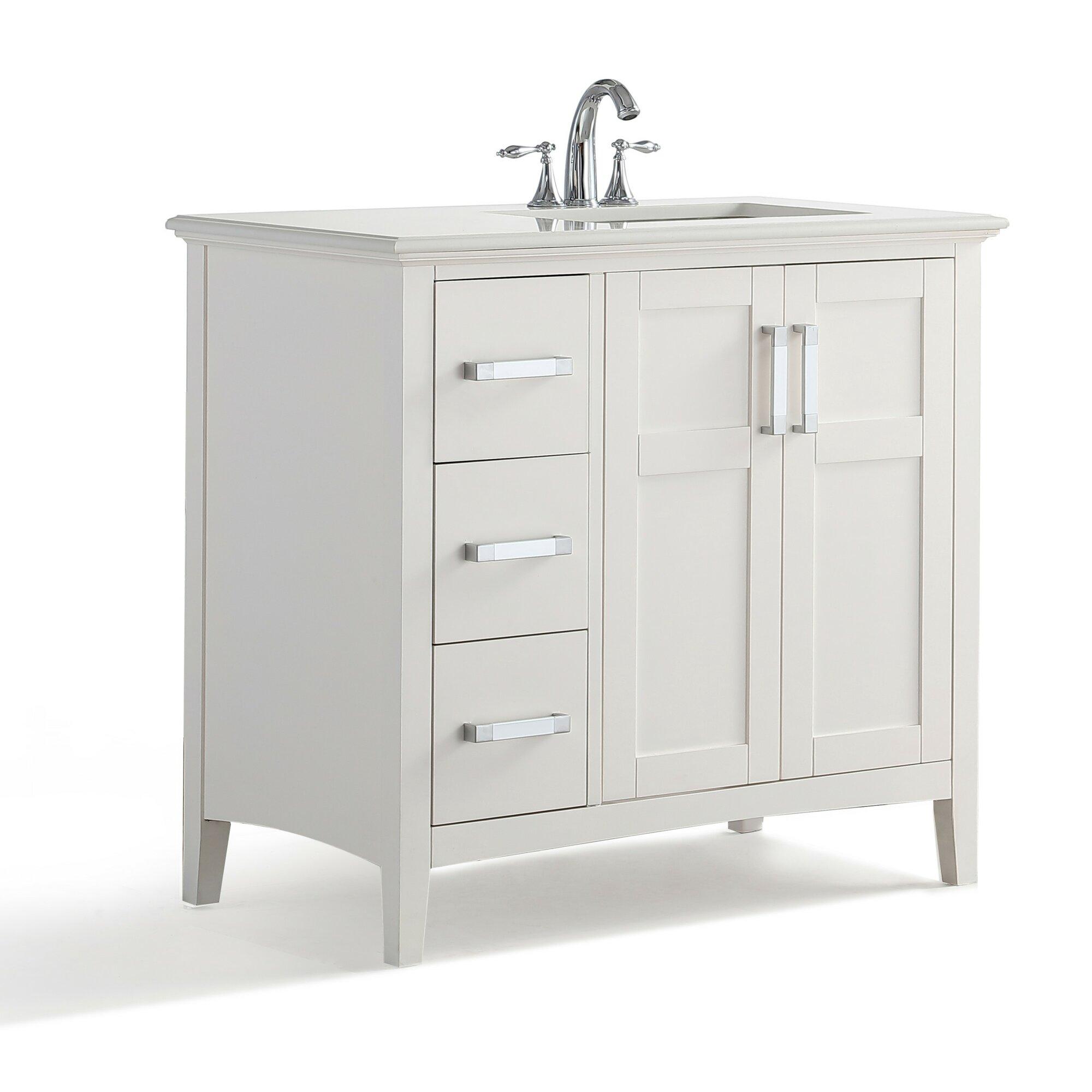 Simpli Home Winston Right Offset 37 Single Bathroom Vanity With Quartz Marble Top Reviews