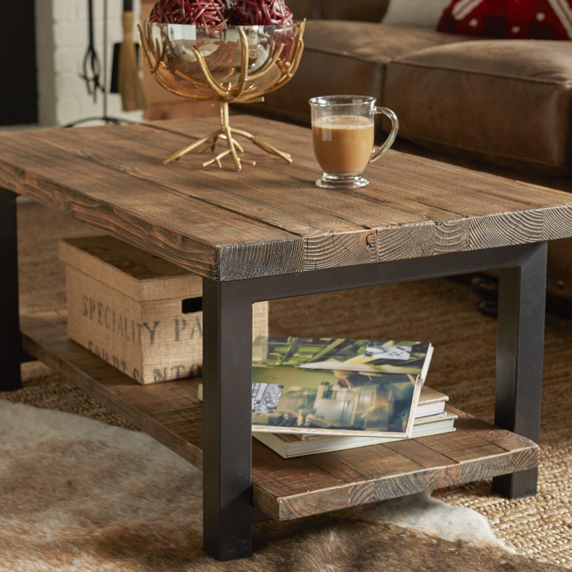 "Industrial Metal and Wood Coffee 51"" Table | Rectangular ...  |Wood Aluminium Table"