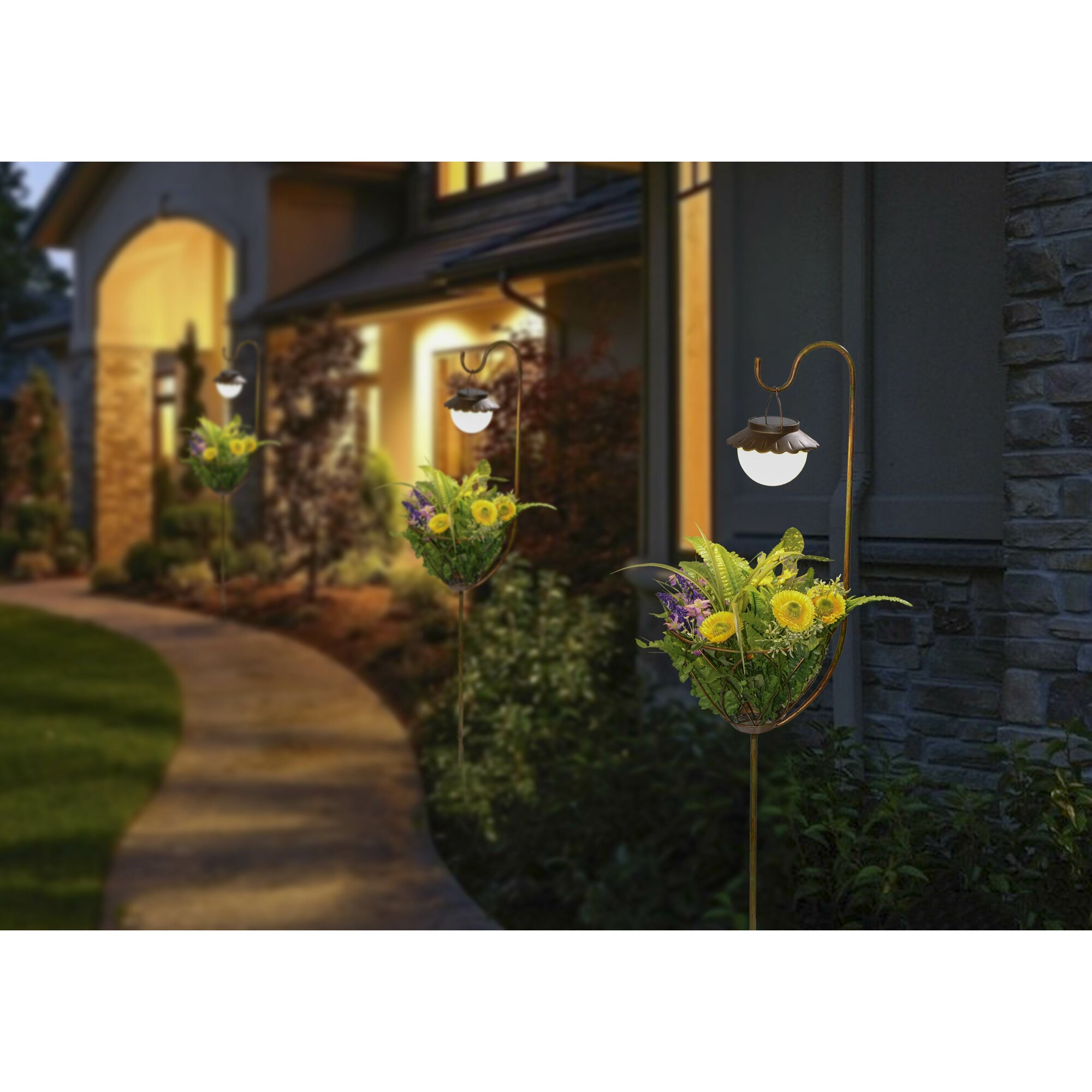 Professional Solar Pedestal Light: WinsomeHouse Pedestal Plant Stand With Solar Light