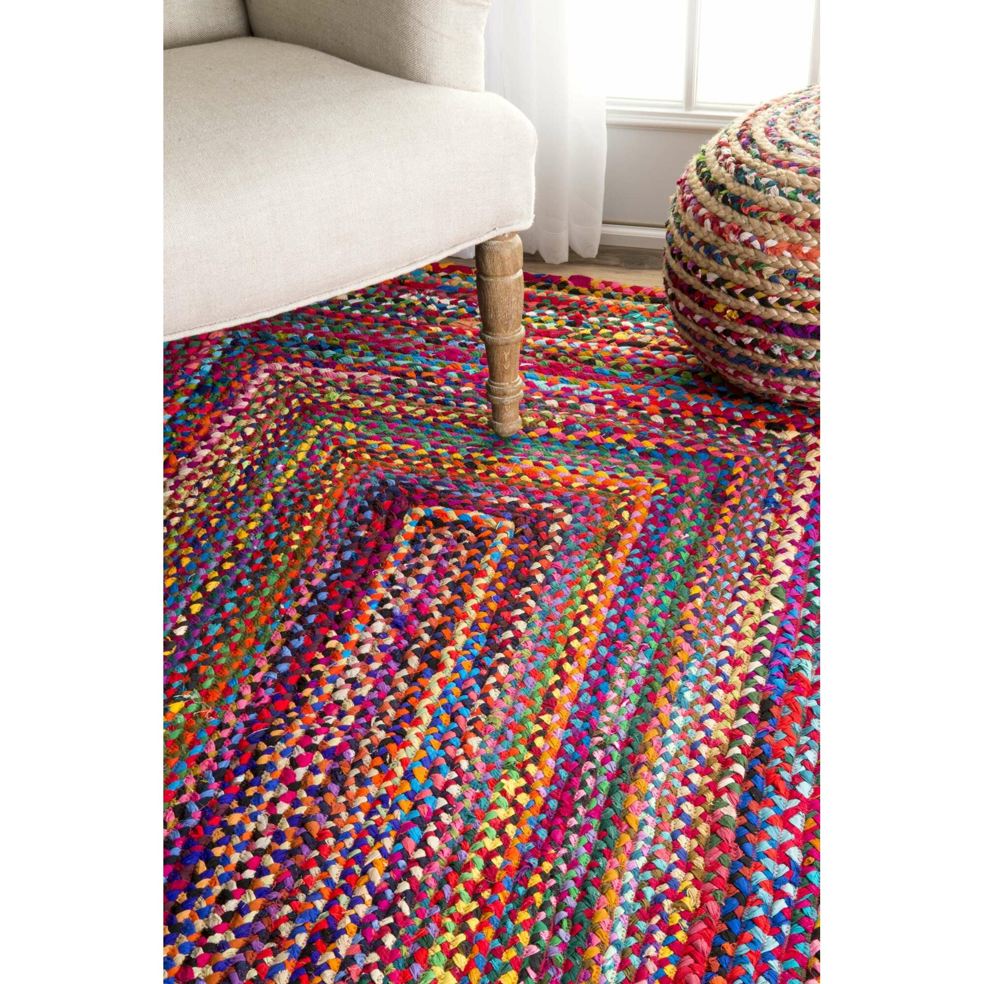 Bungalow Rose Khan Hand-Braided Pink Area Rug & Reviews