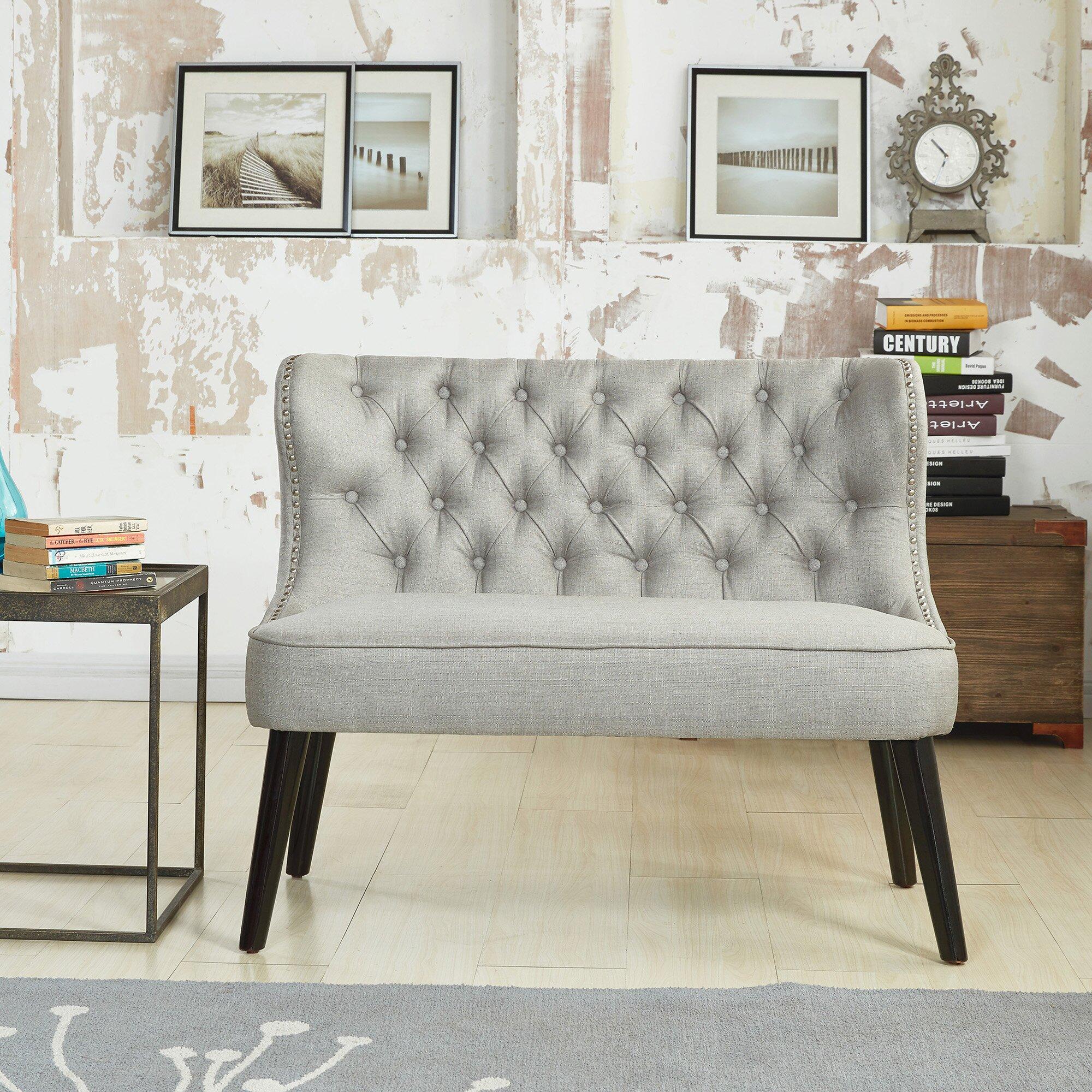 Doring Tufted Wing Back Settee Bedroom Bench & Reviews | Birch Lane