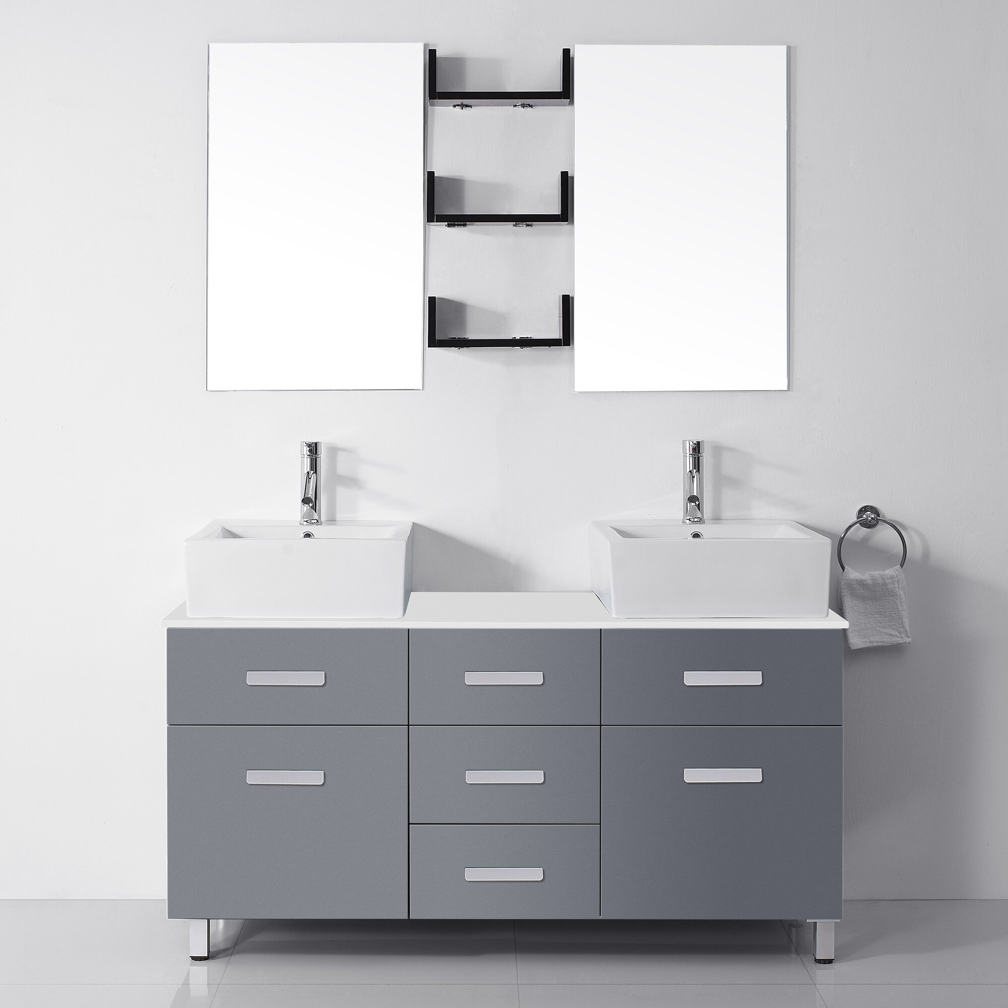 White Double Bathroom Vanities Virtu Usa Ultra Modern Series 56 Double Bathroom Vanity Set With