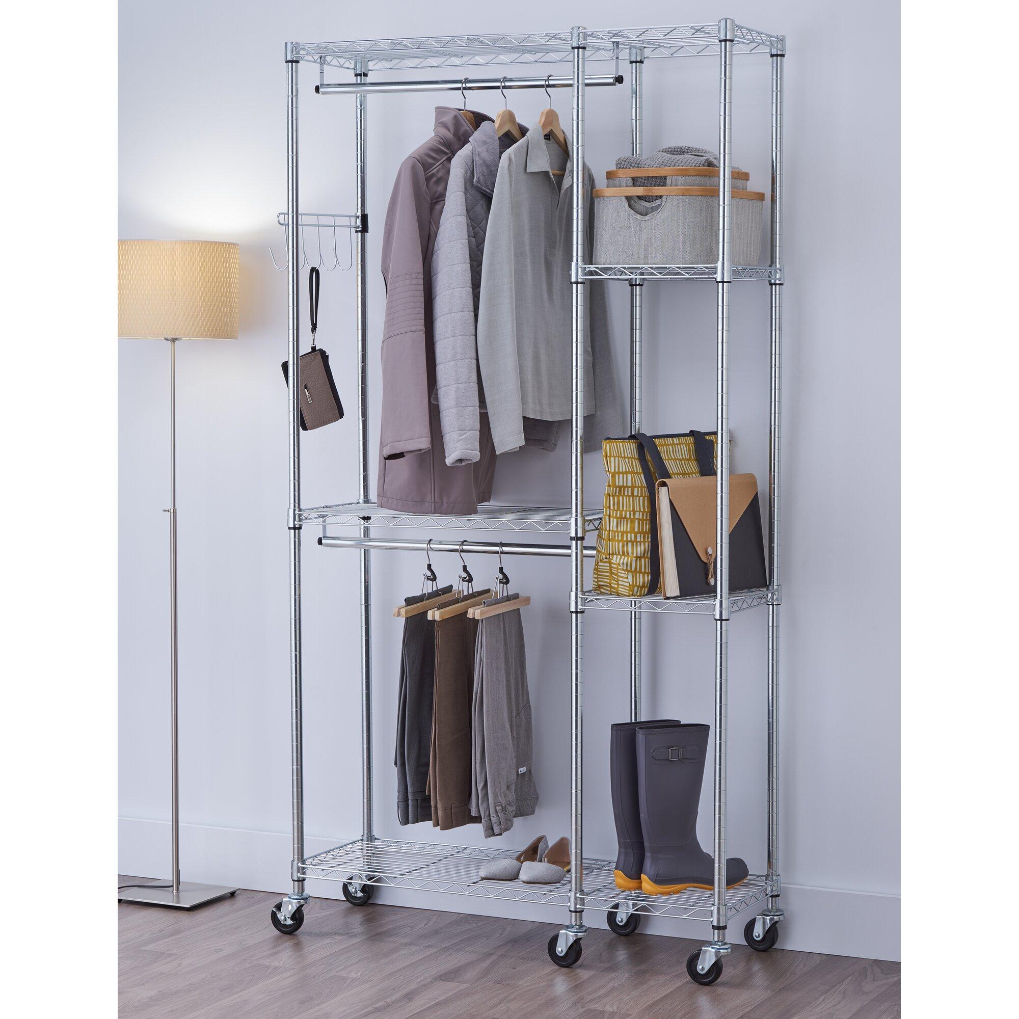 Portable wardrobe on wheels - Mobile 41 Garment Rack