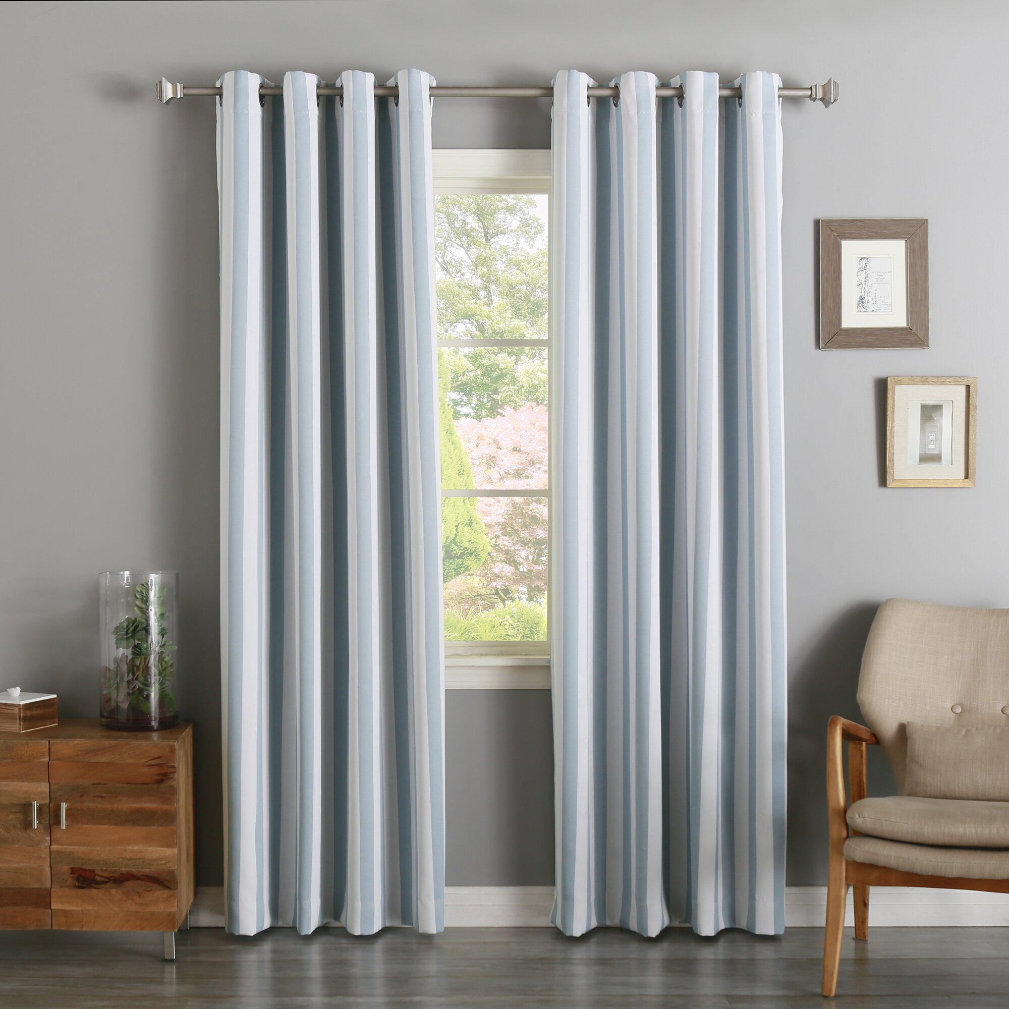 Best Home Fashion, Inc. Striped Semi-Sheer Grommet Curtain