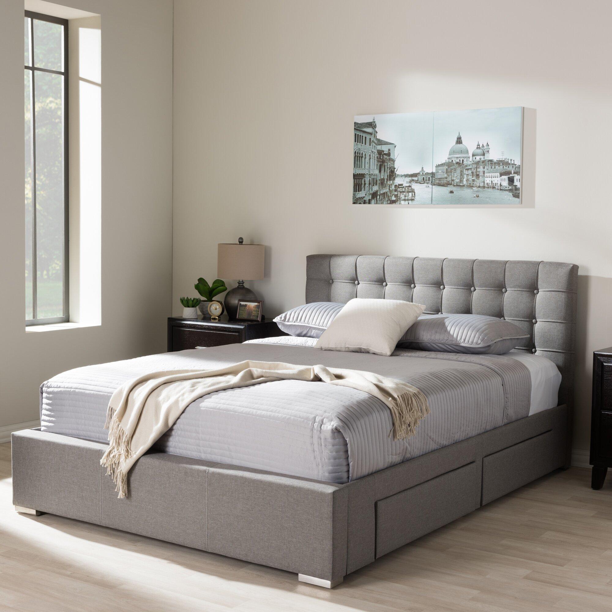 Upholstered platform bed with storage - Latitude Run Myrrine Upholstered Storage Platform Bed Reviews