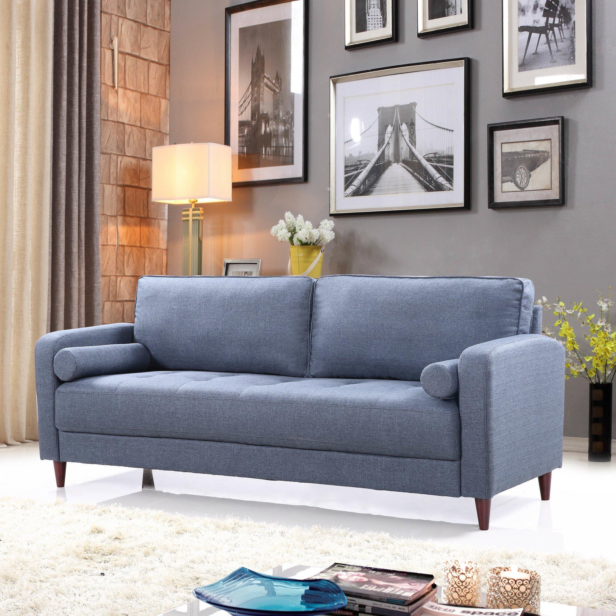 Madison Home Usa Mid Century Modern Linen Fabric Living Room Sofa Reviews Wayfair