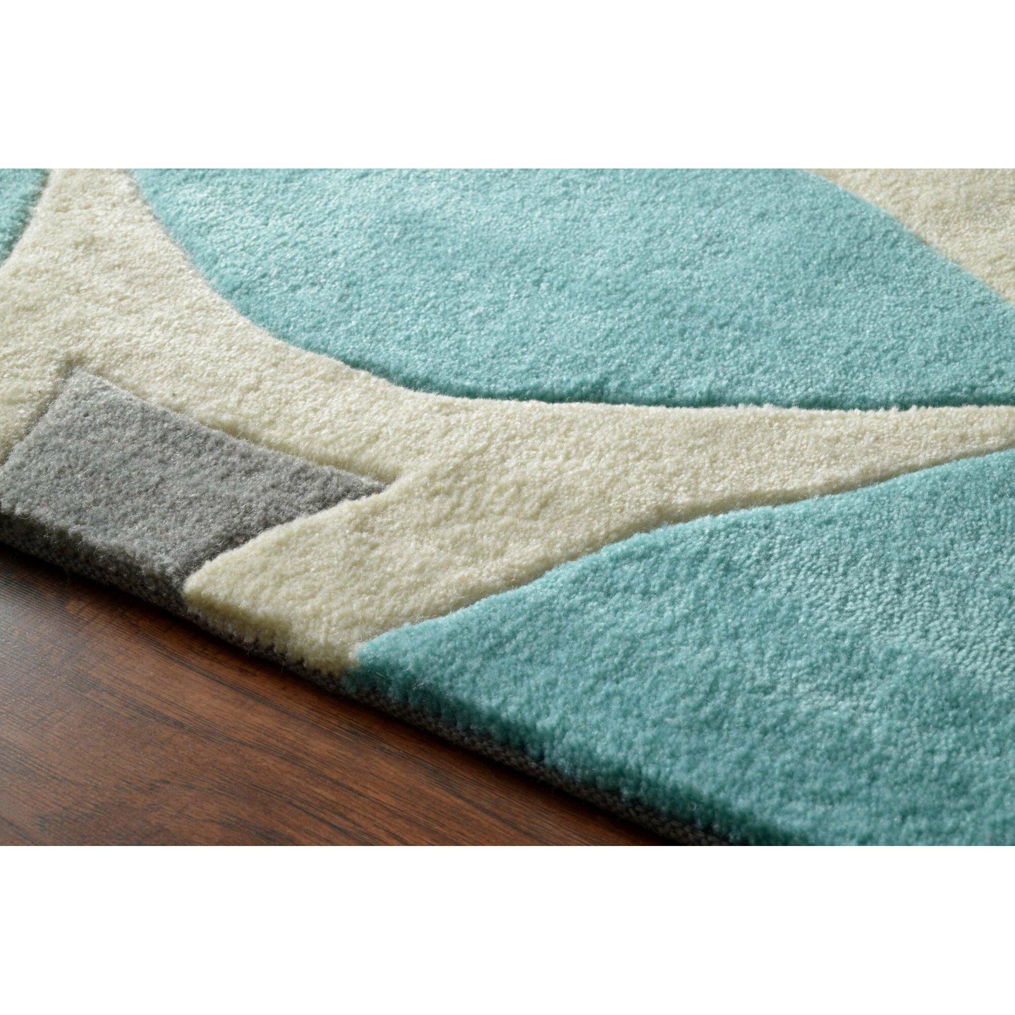 brayden studio crispin hand tufted baby blue white area. Black Bedroom Furniture Sets. Home Design Ideas
