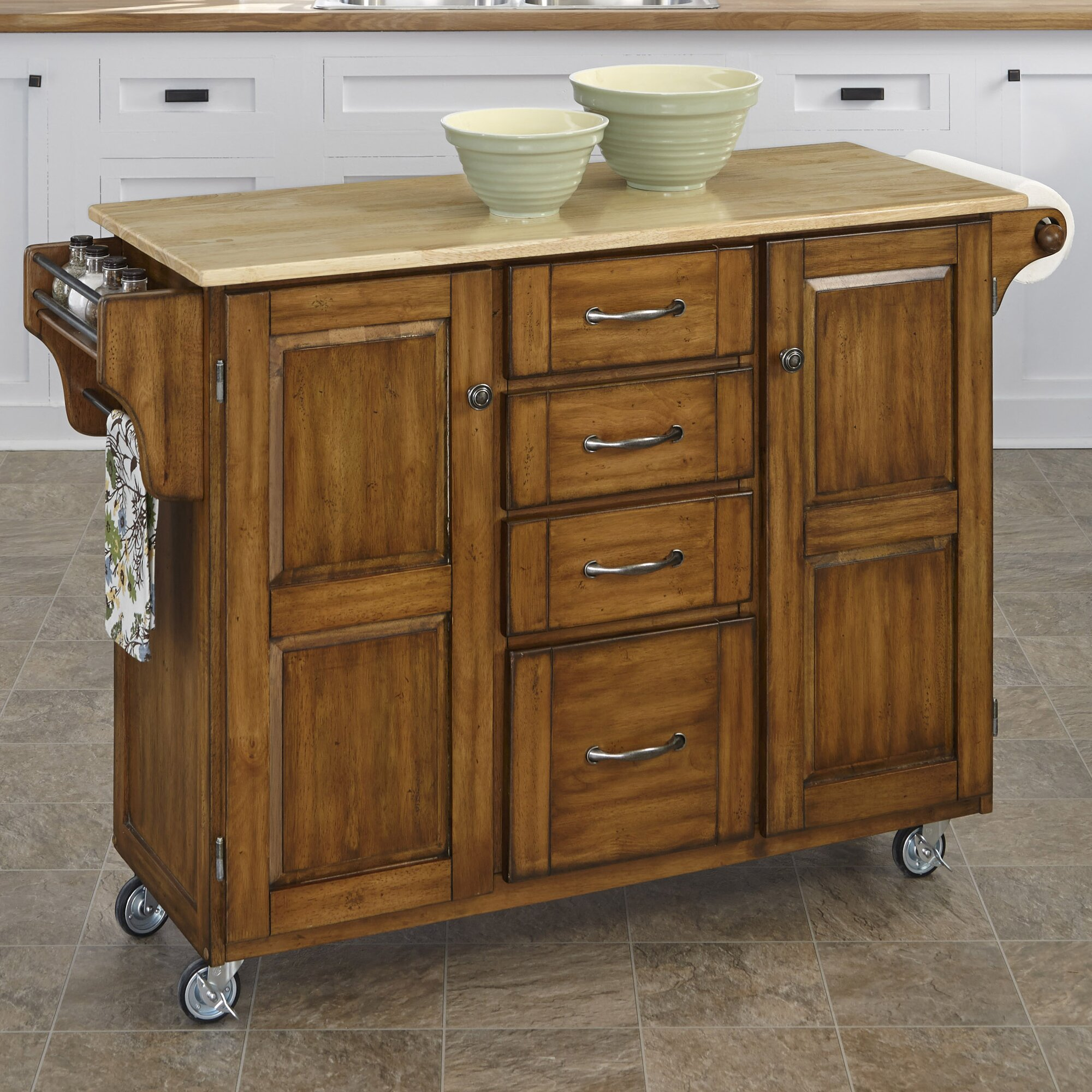 August Grove Adelle-a-Cart Kitchen Island with Butcher ...