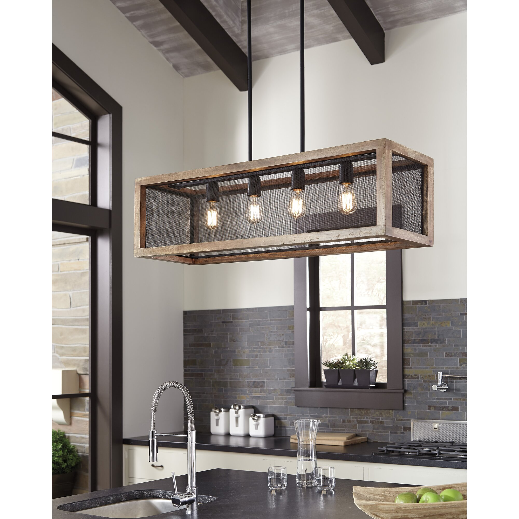 Laurel foundry modern farmhouse haley 4 light kitchen for Farmhouse pendant lighting kitchen