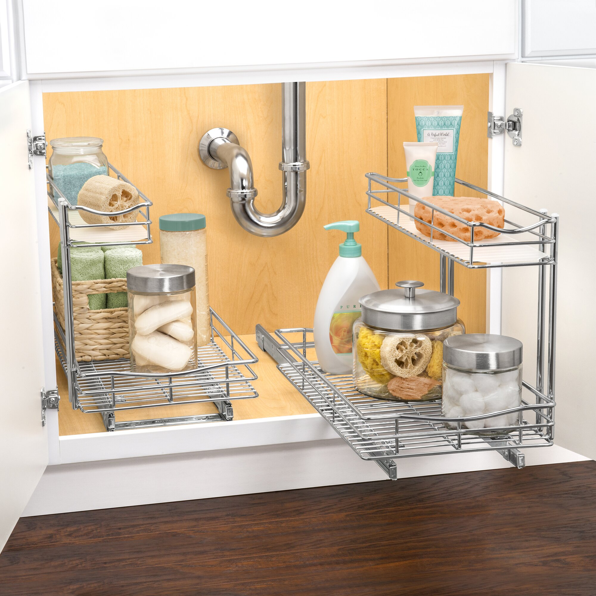 under kitchen sink pull out storage lynk roll out sink cabinet organizer pull out two 9532