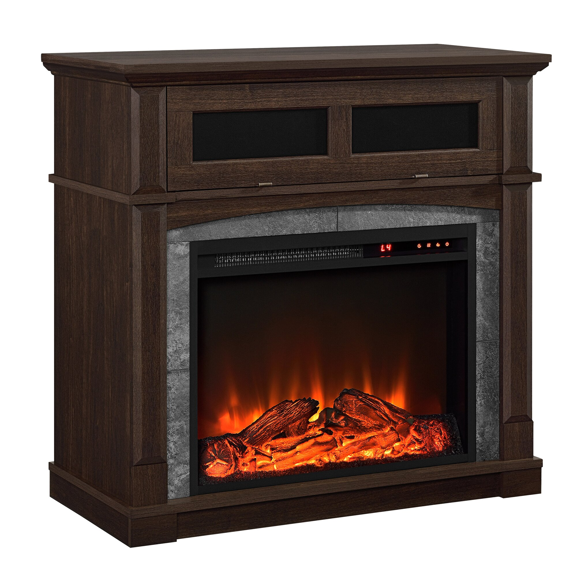 darby home co morgandale 34 tv stand with electric fireplace reviews. Black Bedroom Furniture Sets. Home Design Ideas