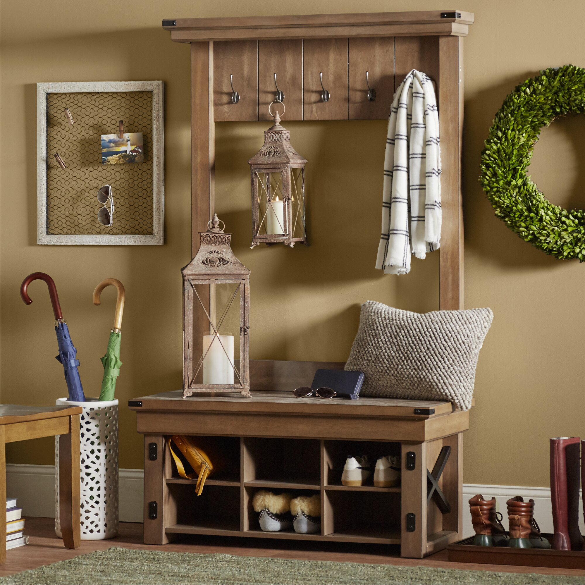 Foyer Mudroom Reviews : August grove irwin wood veneer entryway hall tree with