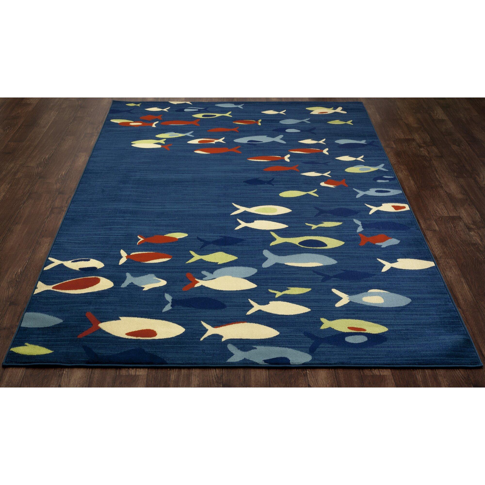 Art carpet seaport fish school navy indoor outdoor area for Landscape indoor area rug
