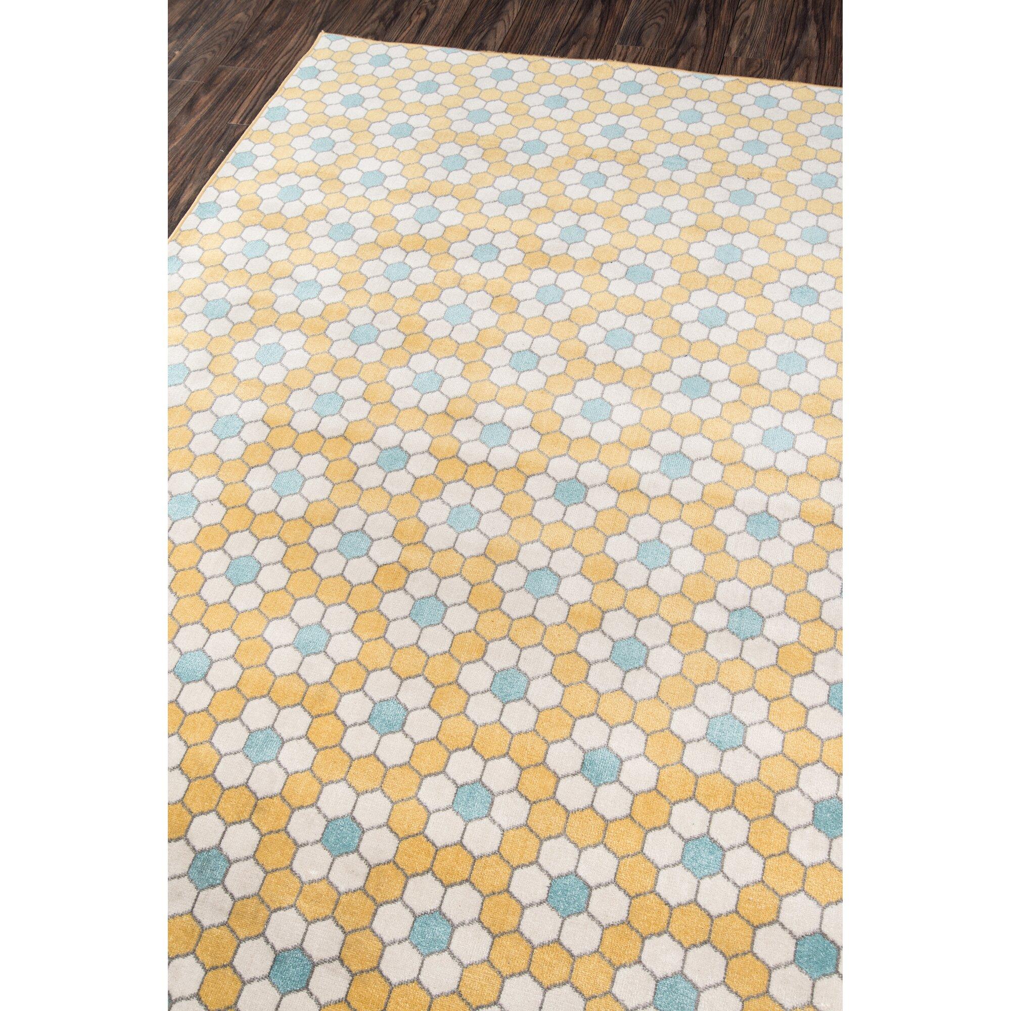 Hex Tile Indoor Outdoor Yellow Area Rug & Reviews