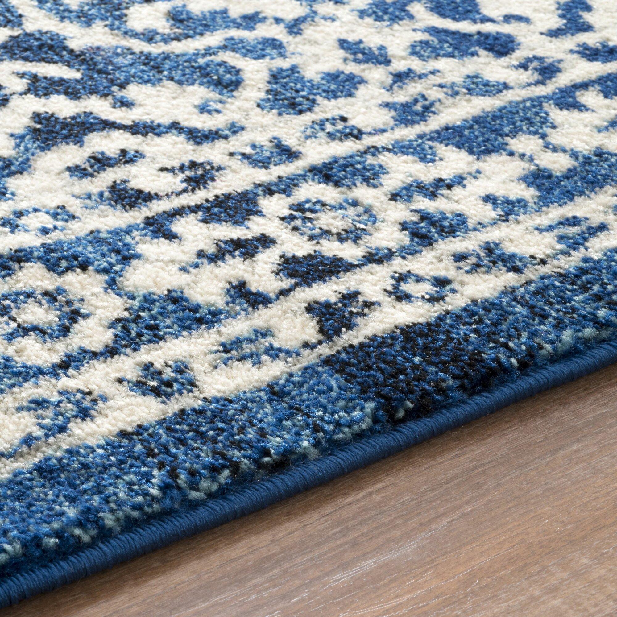 Plumville Dark Blue Cream Area Rug Amp Reviews Birch Lane
