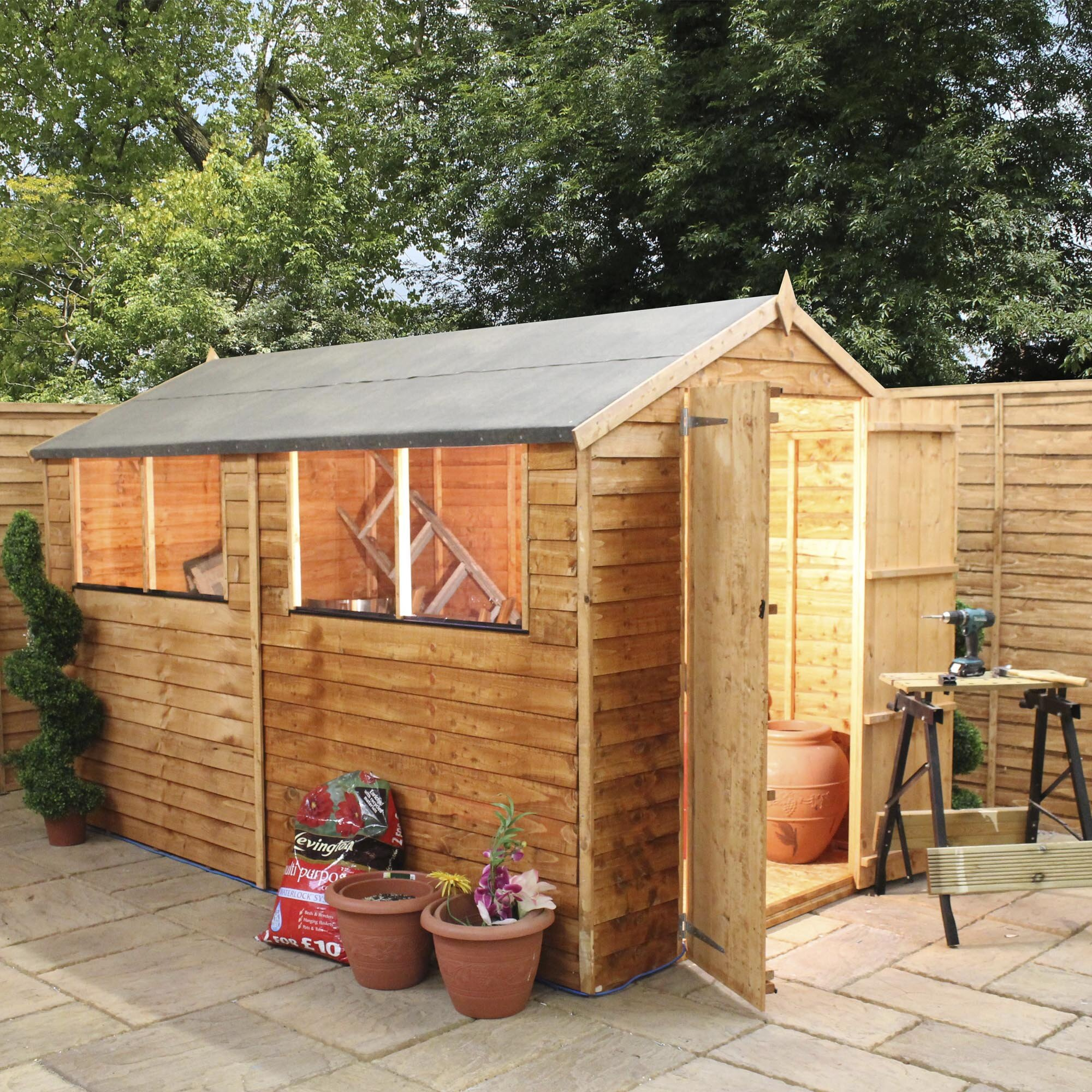 Mercia Garden Products 6 X 10 Wooden Overlap Apex Storage Shed & Reviews