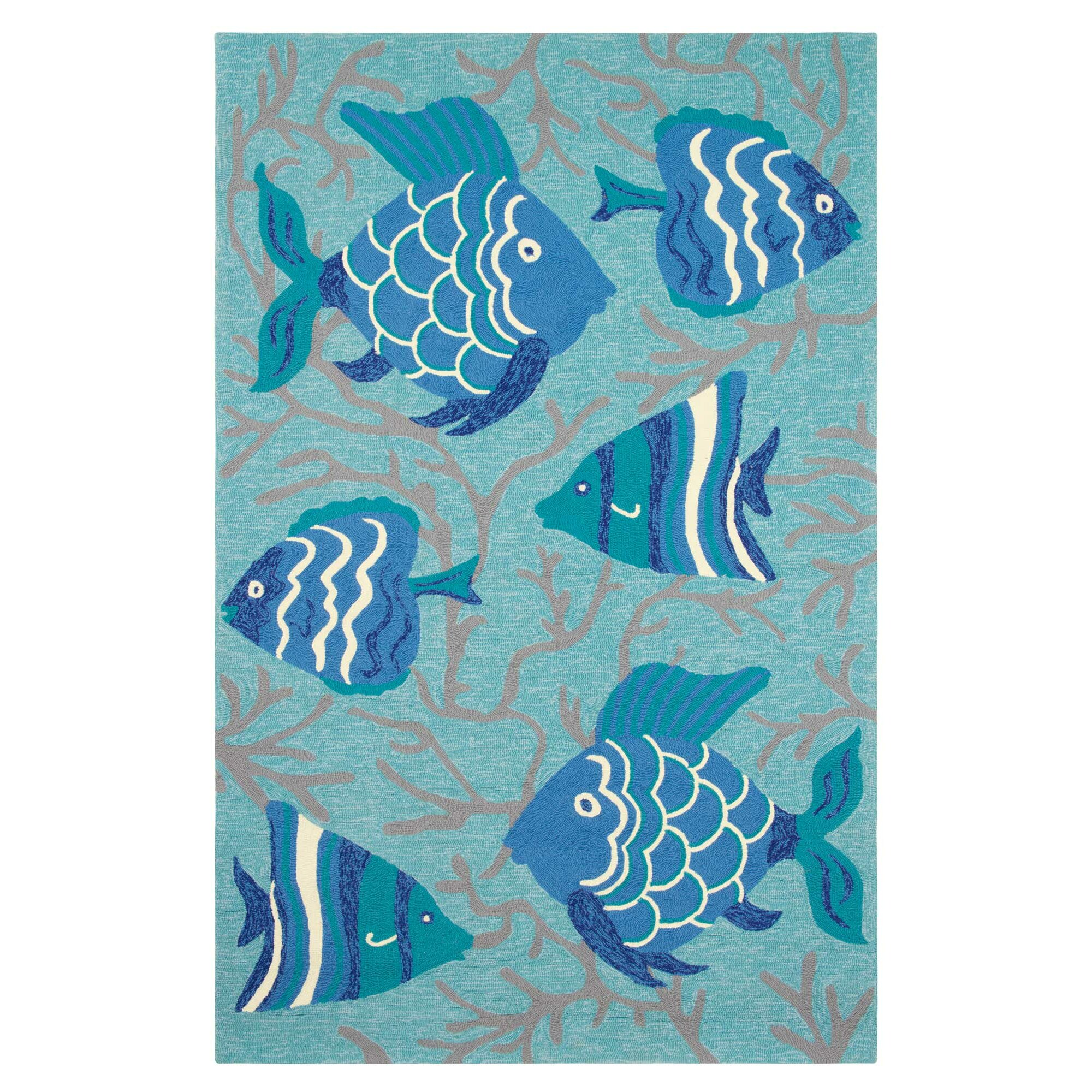 Company C Go Fish Hand-Hooked Lake Indoor/Outdoor Area Rug