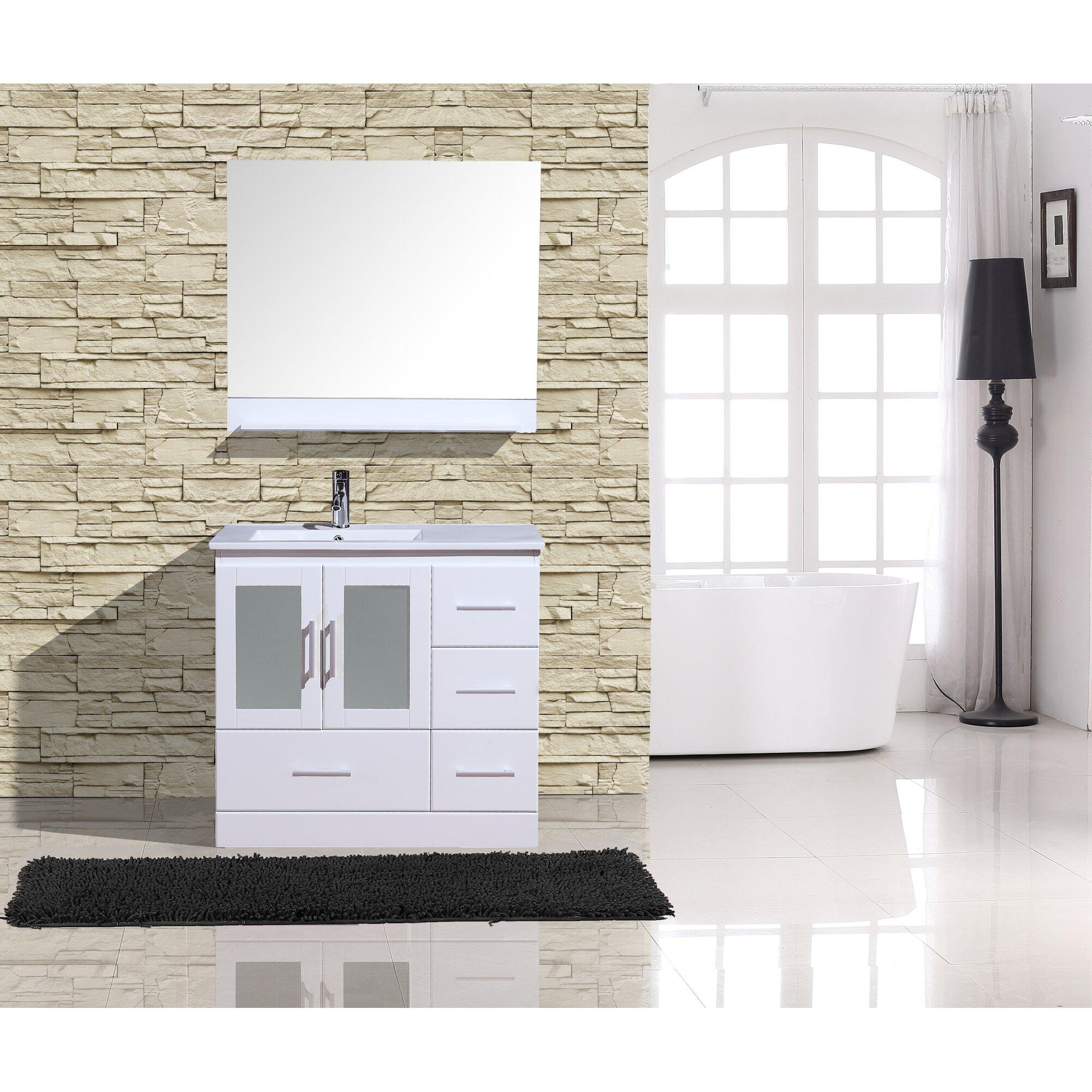 Adornus alva 36 single bathroom vanity with mirror for Bathrooms r us reviews