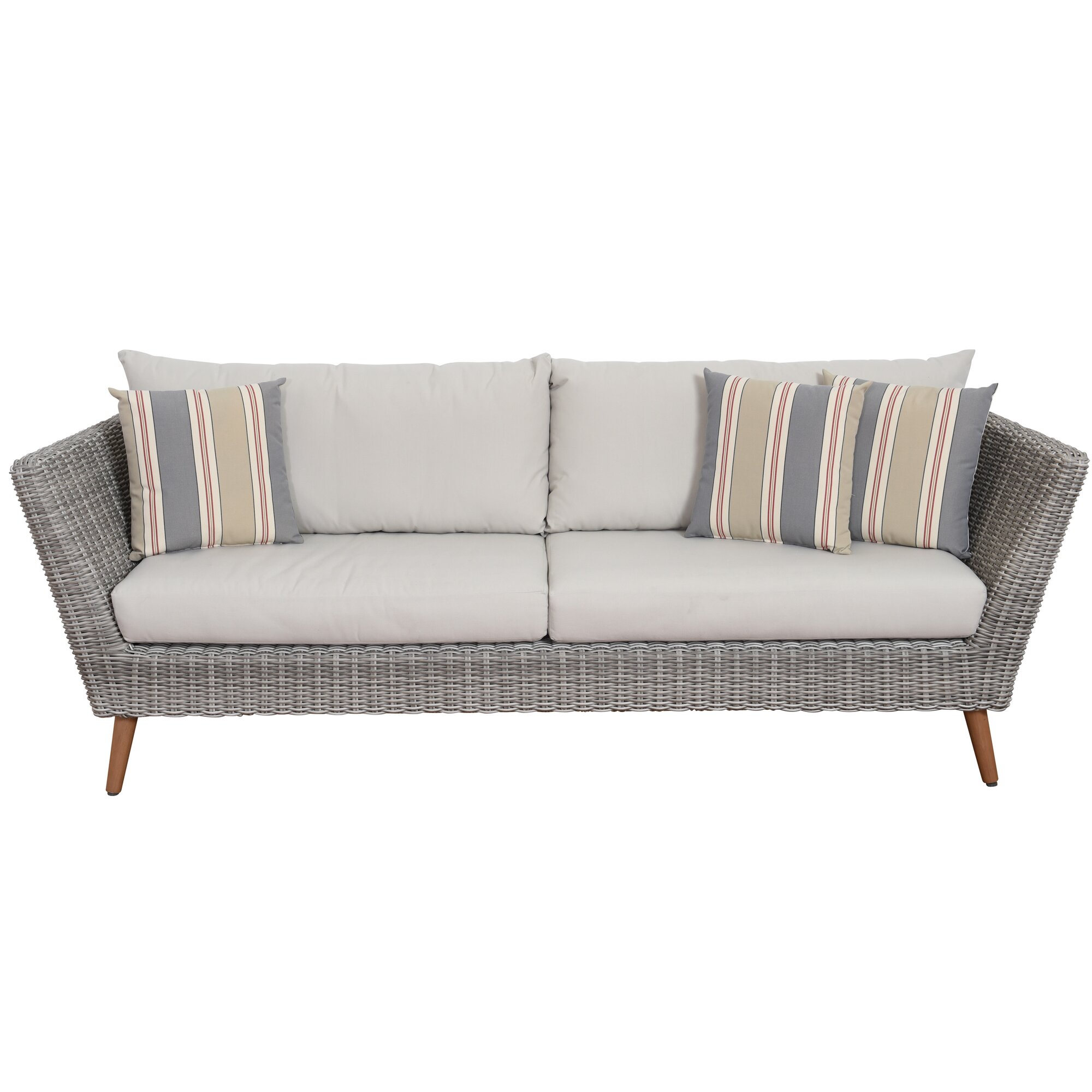Newbury patio sofa with cushions reviews allmodern for Outdoor furniture langley