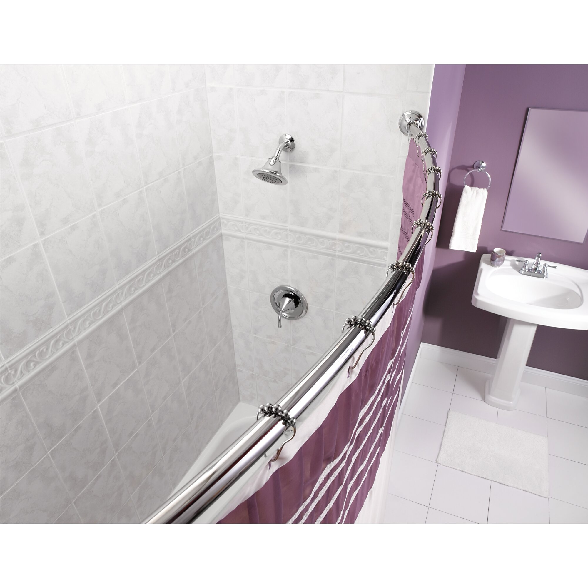 Installing Curved Shower Curtain Rod On Tile Curtain