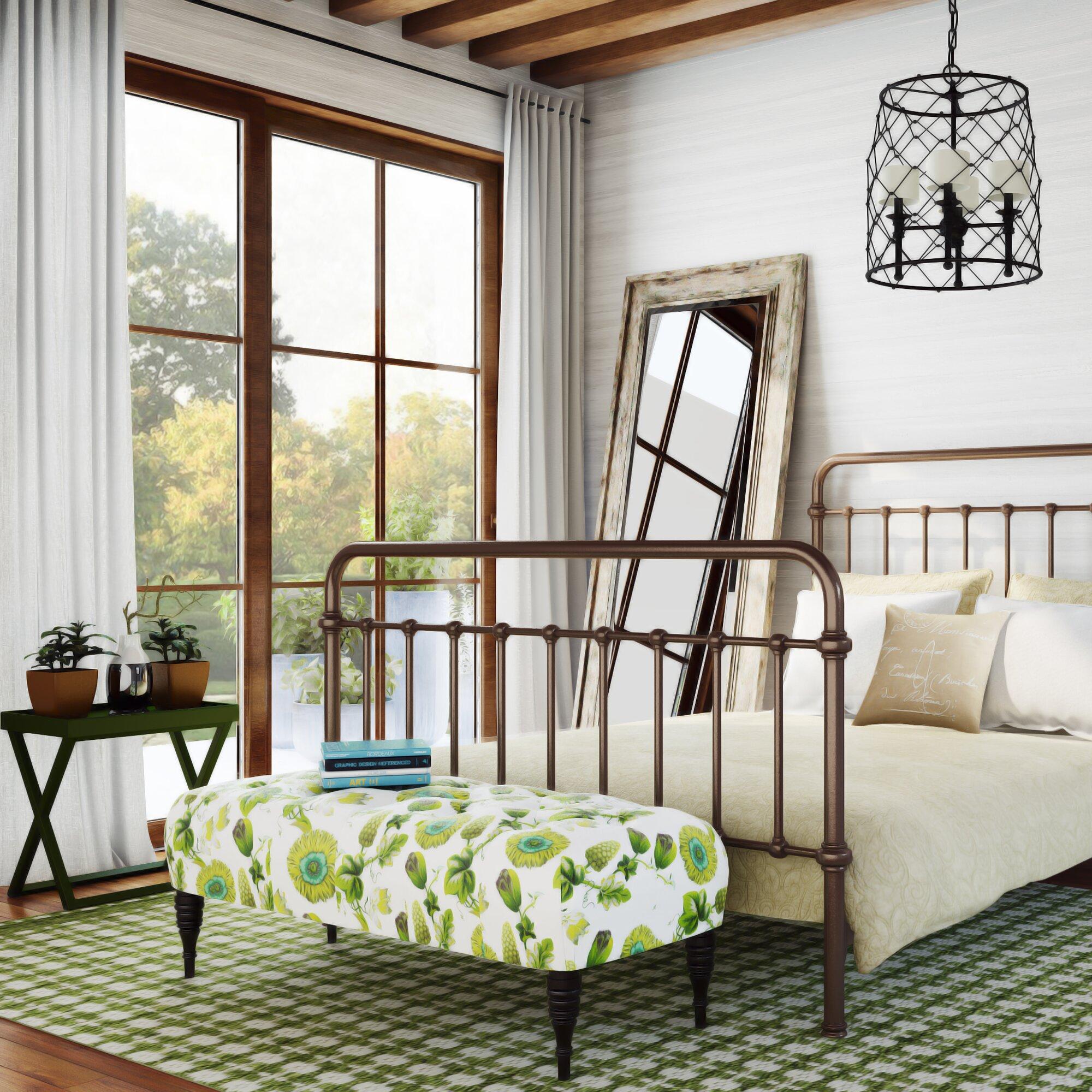 August Grove Acelina Tufted Linen Upholstered Bedroom Bench ...