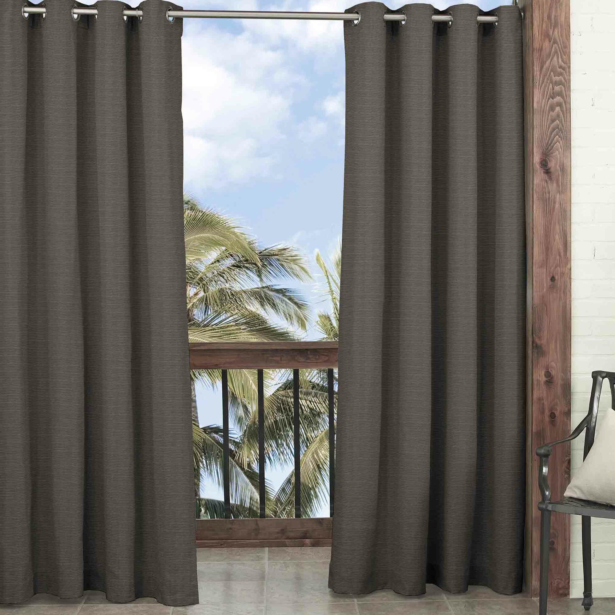 Sheer outdoor curtains - Key Largo Solid Blackout Thermal Outdoor Grommet Single Curtain Panel