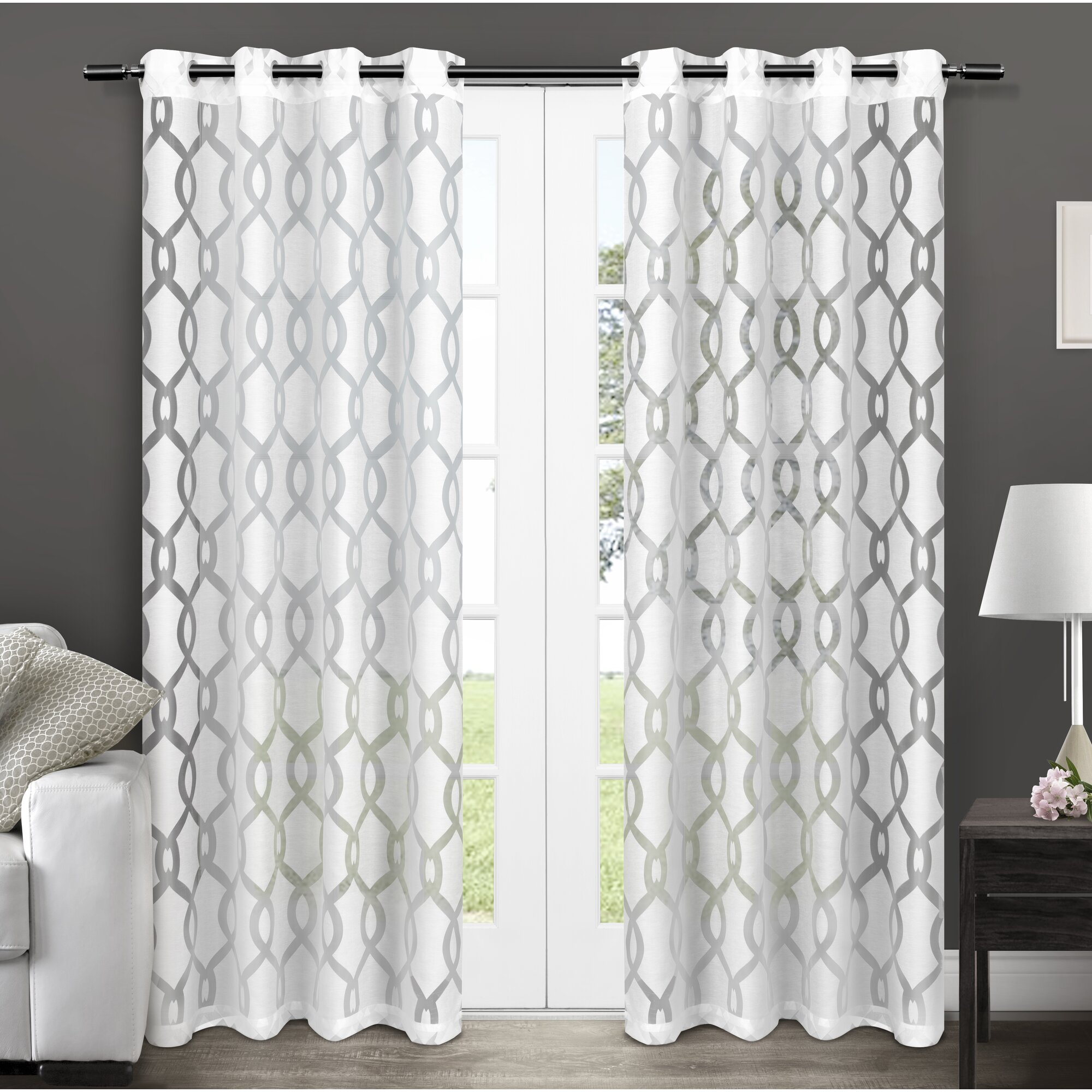 House Of Hampton Hadley Geometric Sheer Curtain Panels
