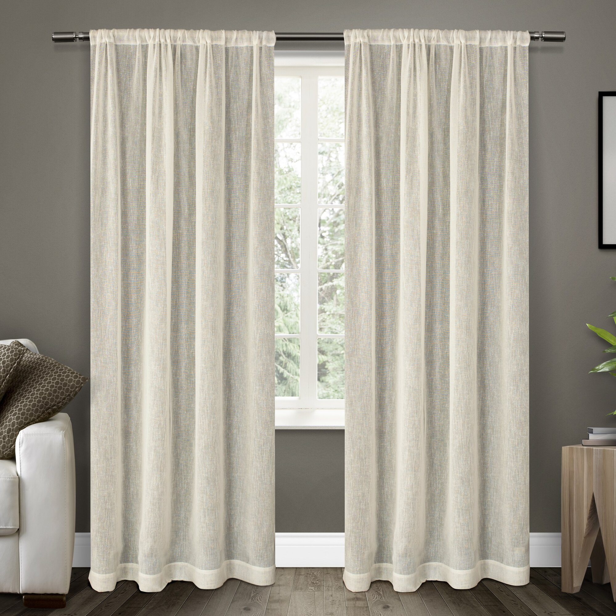 Laurel Foundry Modern Farmhouse Baillons Solid Sheer Rod Pocket Curtain Panels Reviews