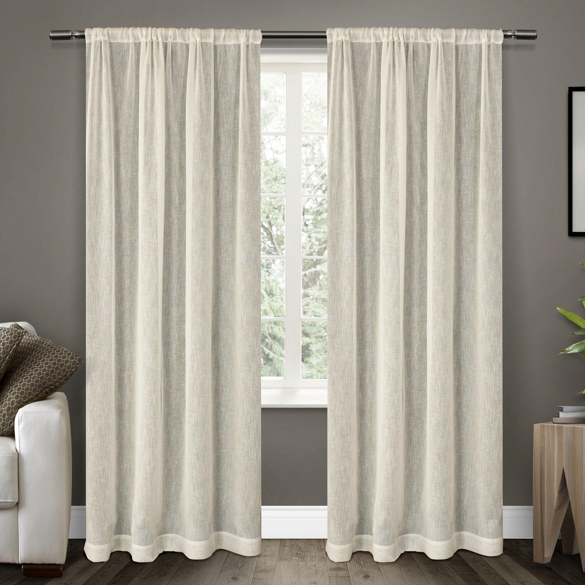 laurel foundry modern farmhouse baillons solid sheer rod pocket curtain panels reviews. Black Bedroom Furniture Sets. Home Design Ideas