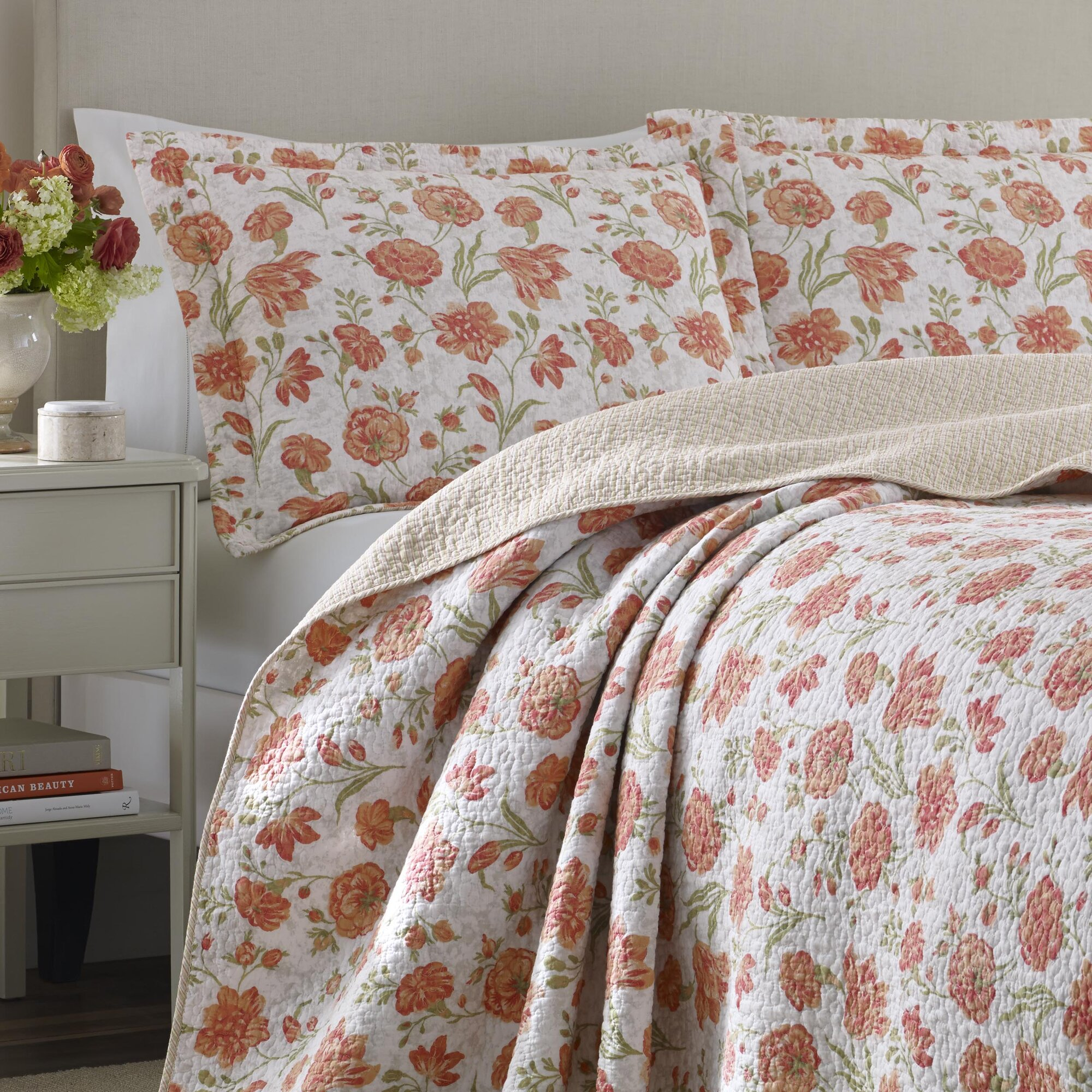 Laura Ashley Home Cadence Apricot Cotton Reversible Quilt